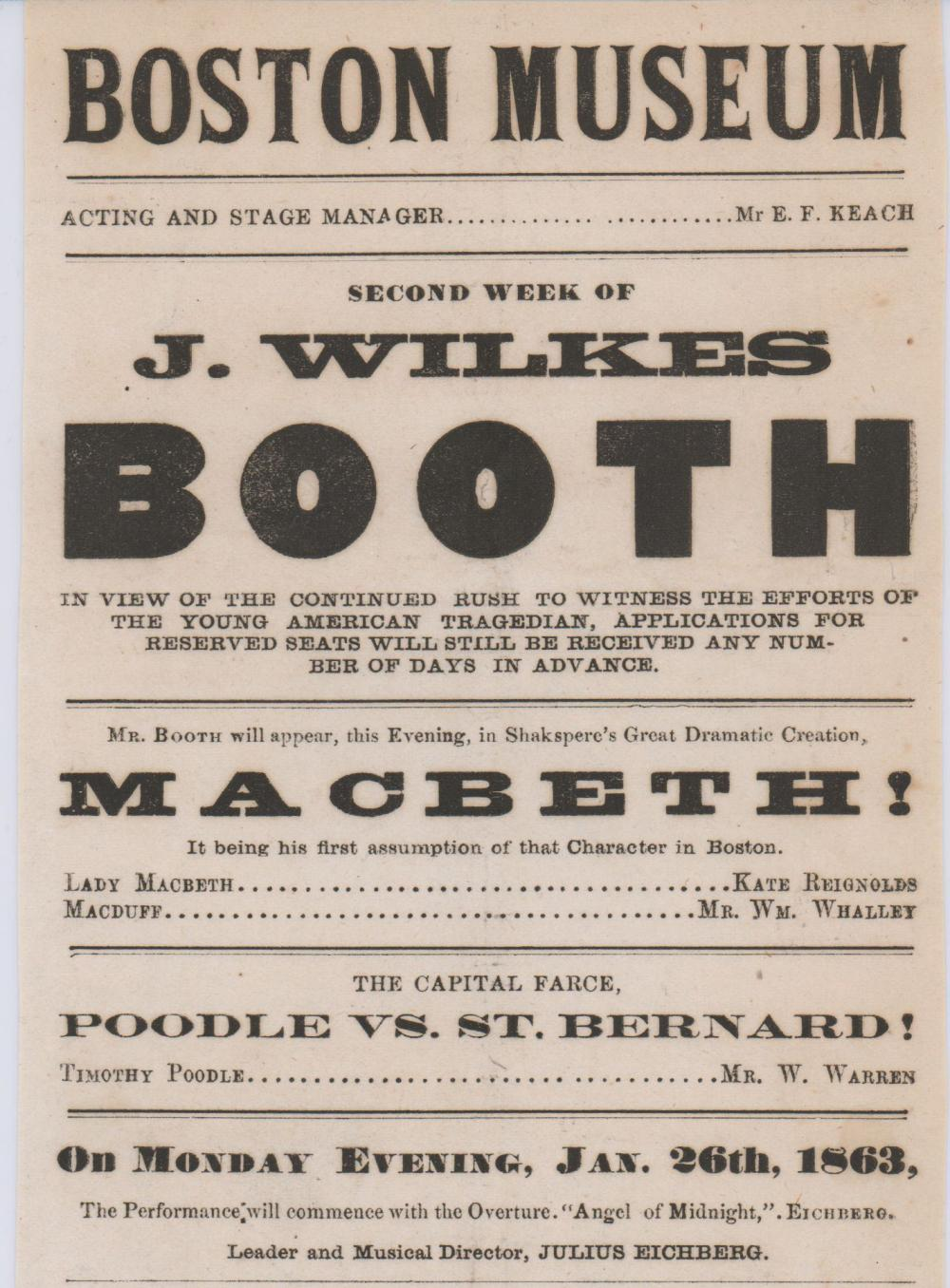 John Wilkes Booth Plays Macbeth at The Boston Museum!