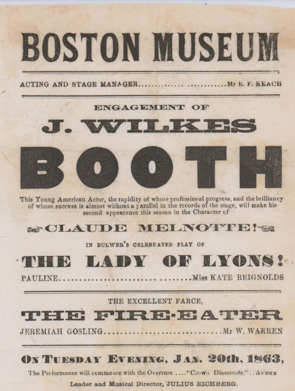 "John Wilkes Booth In Bulwer's Celbrated Play of ""The Lady of Lyons"""