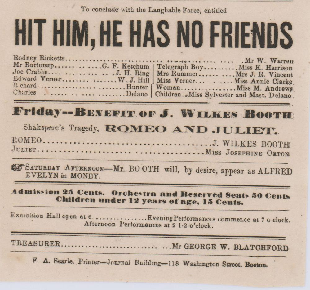 "John Wilkes Booth In His Second Week of His Engagement as Charles De Moor, in ""Robbers"""
