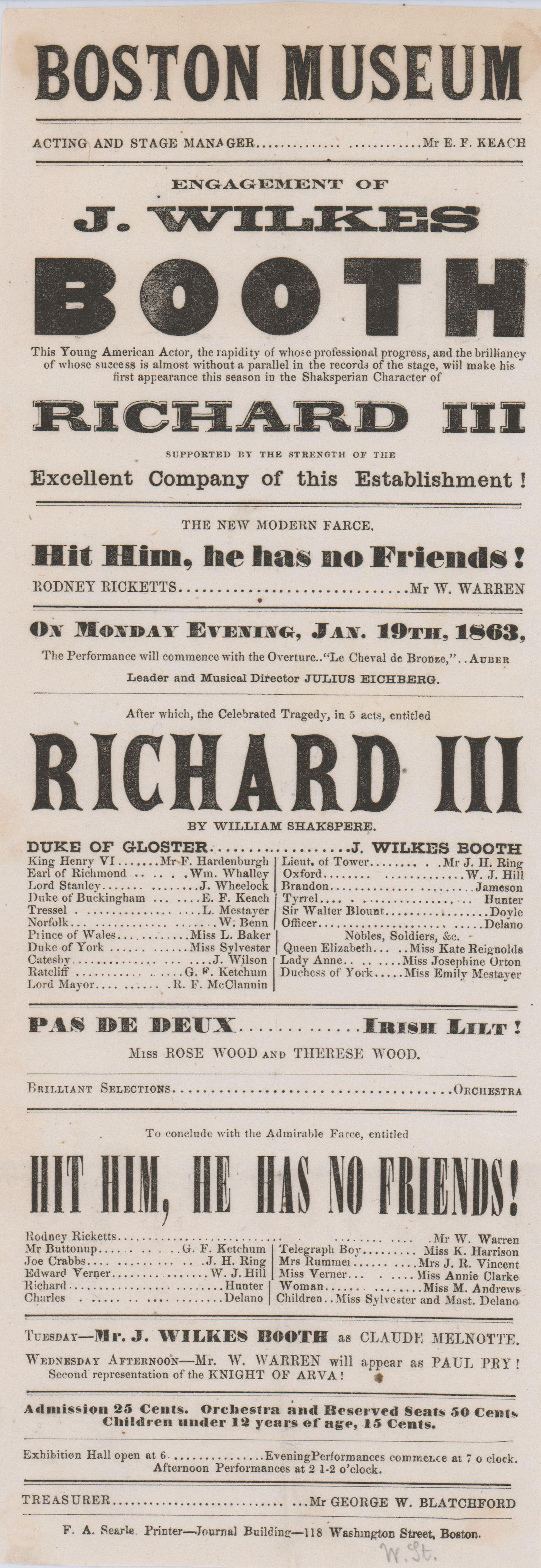 "John Wilkes Booth's First Appearance of the Season in ""Richard III"""