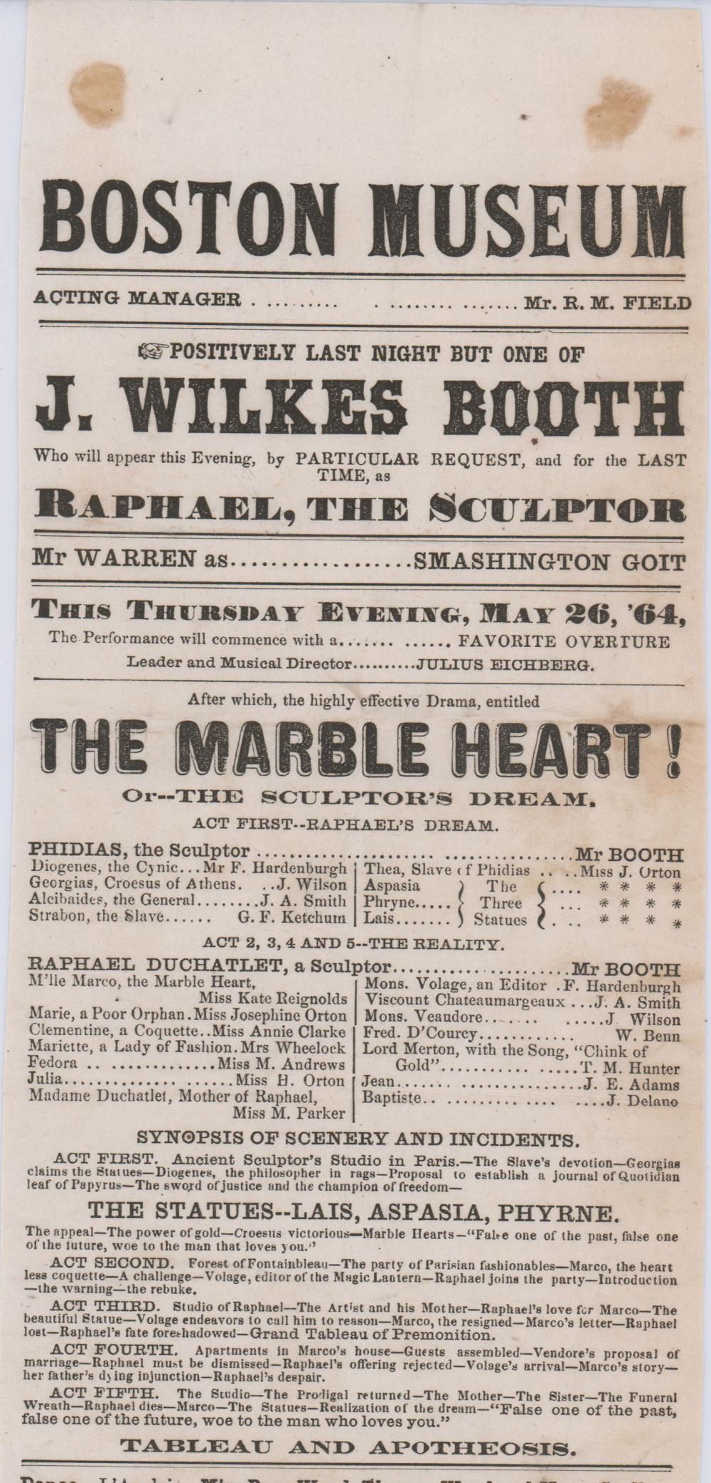 """John Wilkes Booth's Last Appearance as Raphael, The Sculptor in """"The Marble Heart"""""""