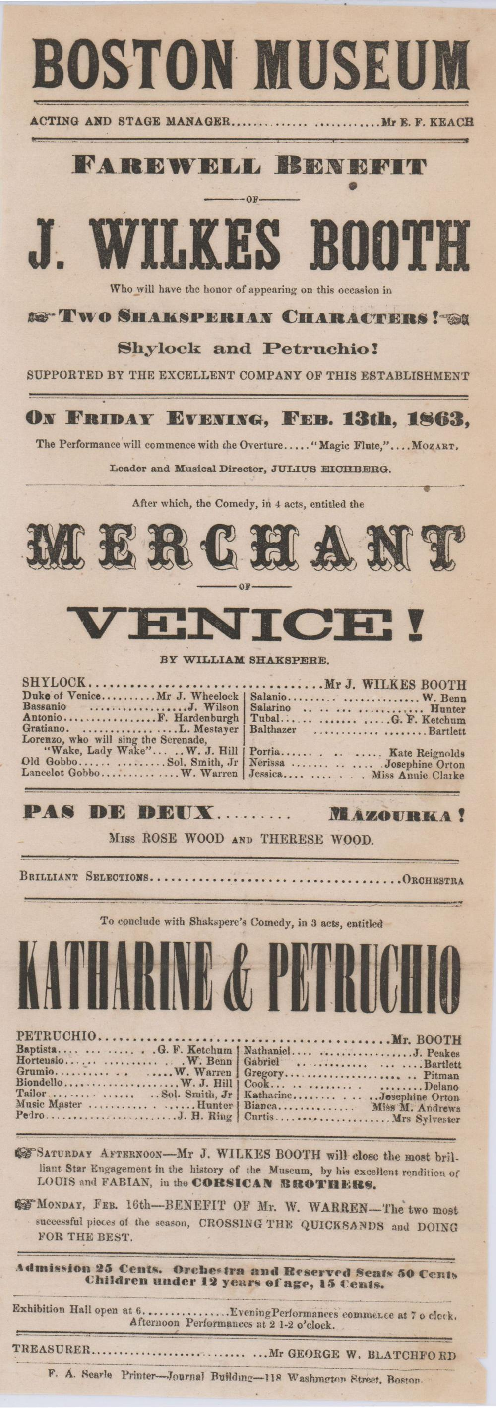 John Wilkes Booth Appearing as Shylock and Petruchio!