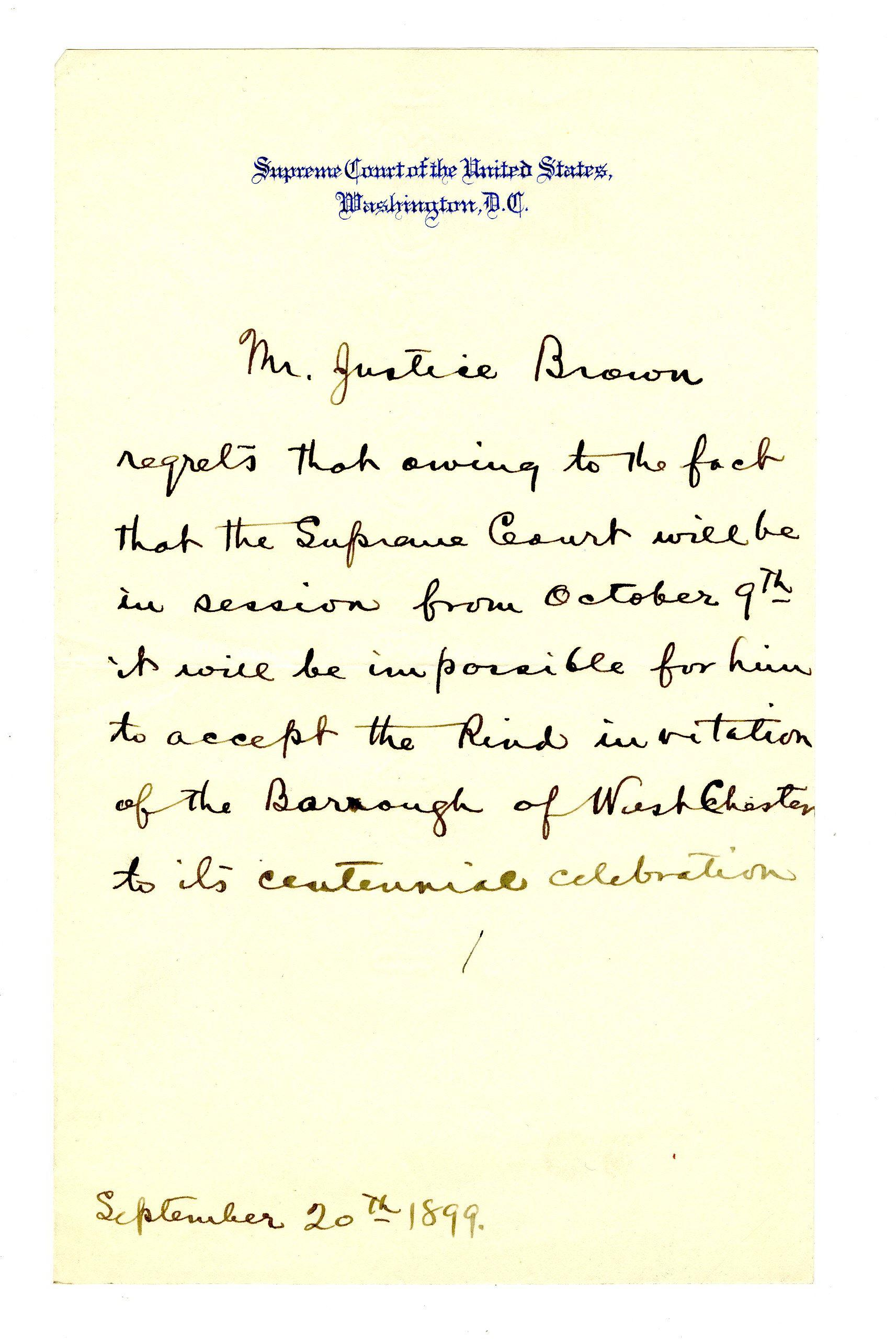 Letter Written on Behalf of Justice Henry Brown, Declining an Invitation