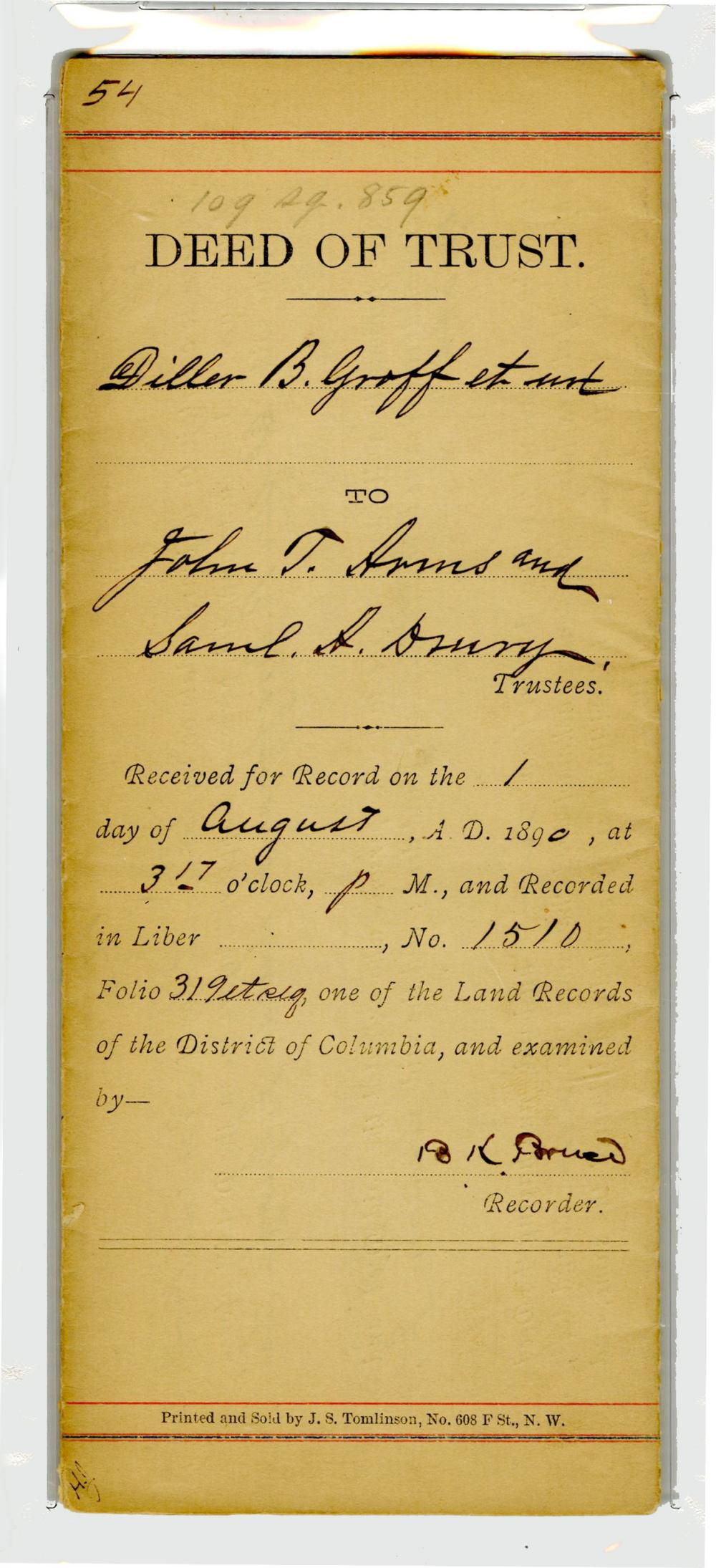 First Elected African-American Senator Blanche K. Bruce Signed Deed