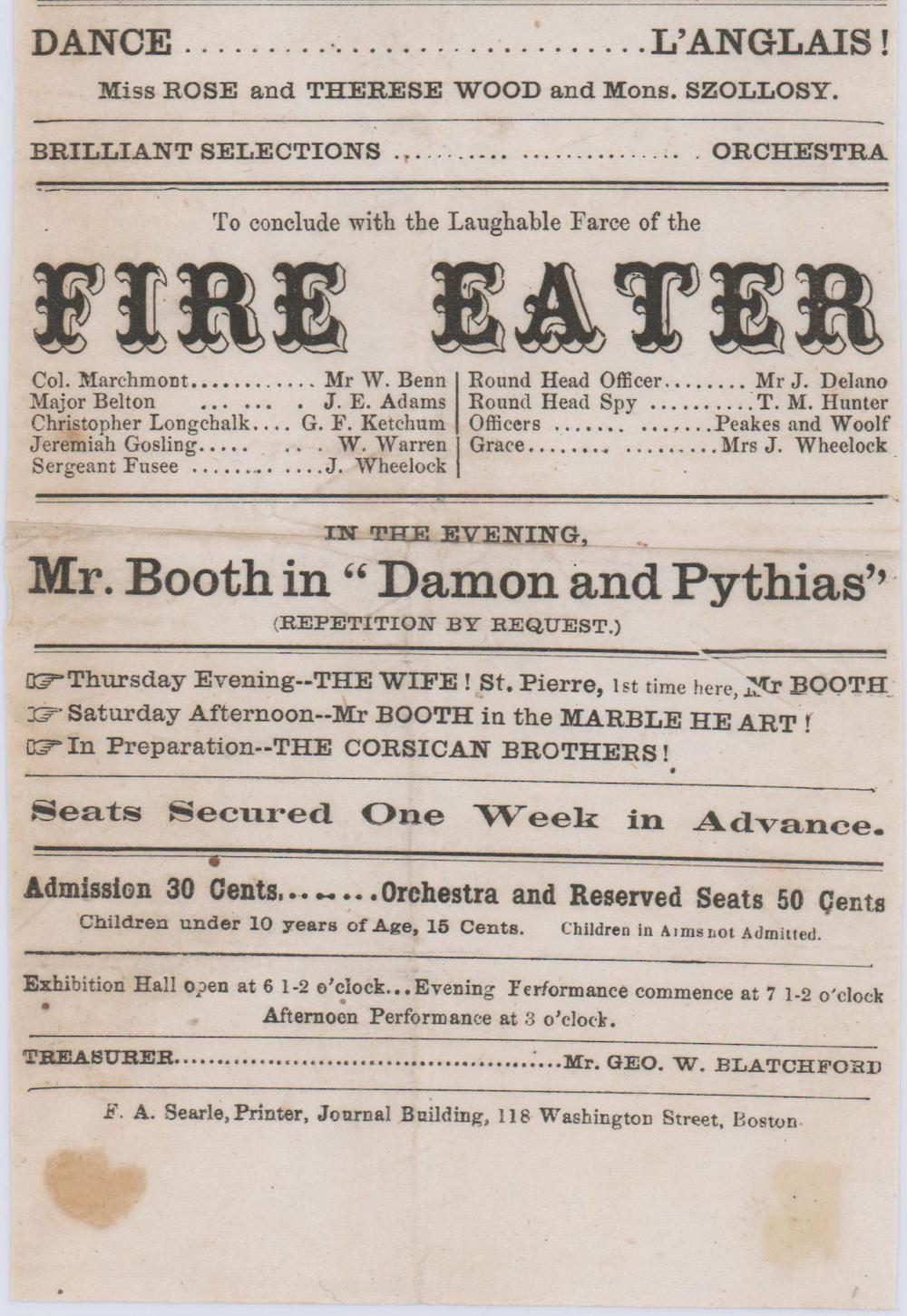 """Mr. Booth in """"Damon and Pythias"""" also Starring in """"The Wife"""", """"Marble Heart"""" & """"The Corsican Brothers"""""""