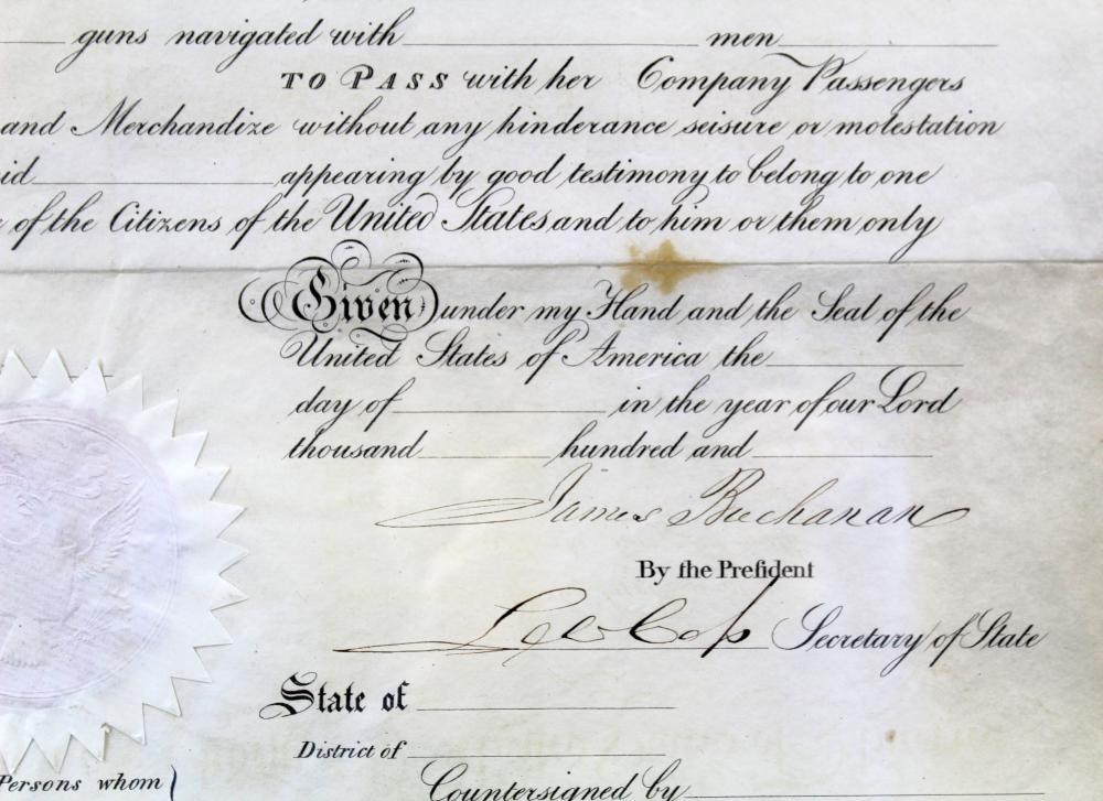 James Buchanan Signed Ornately Engraved Ships Passport