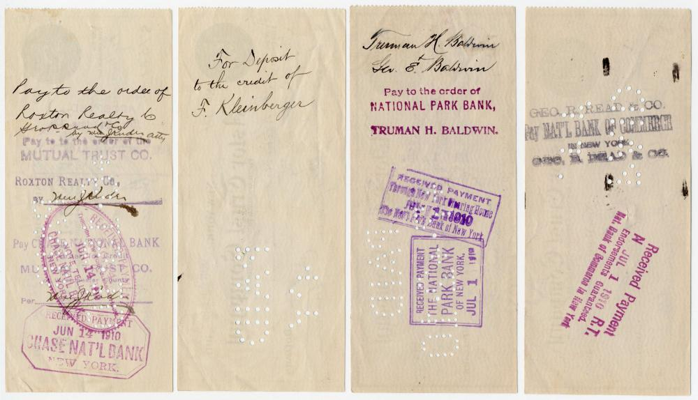 Benjamin Altman, NYC Department Store Mogul, 4 Signed Checks Totaling Equivalent of Nearly $2 Million Today!