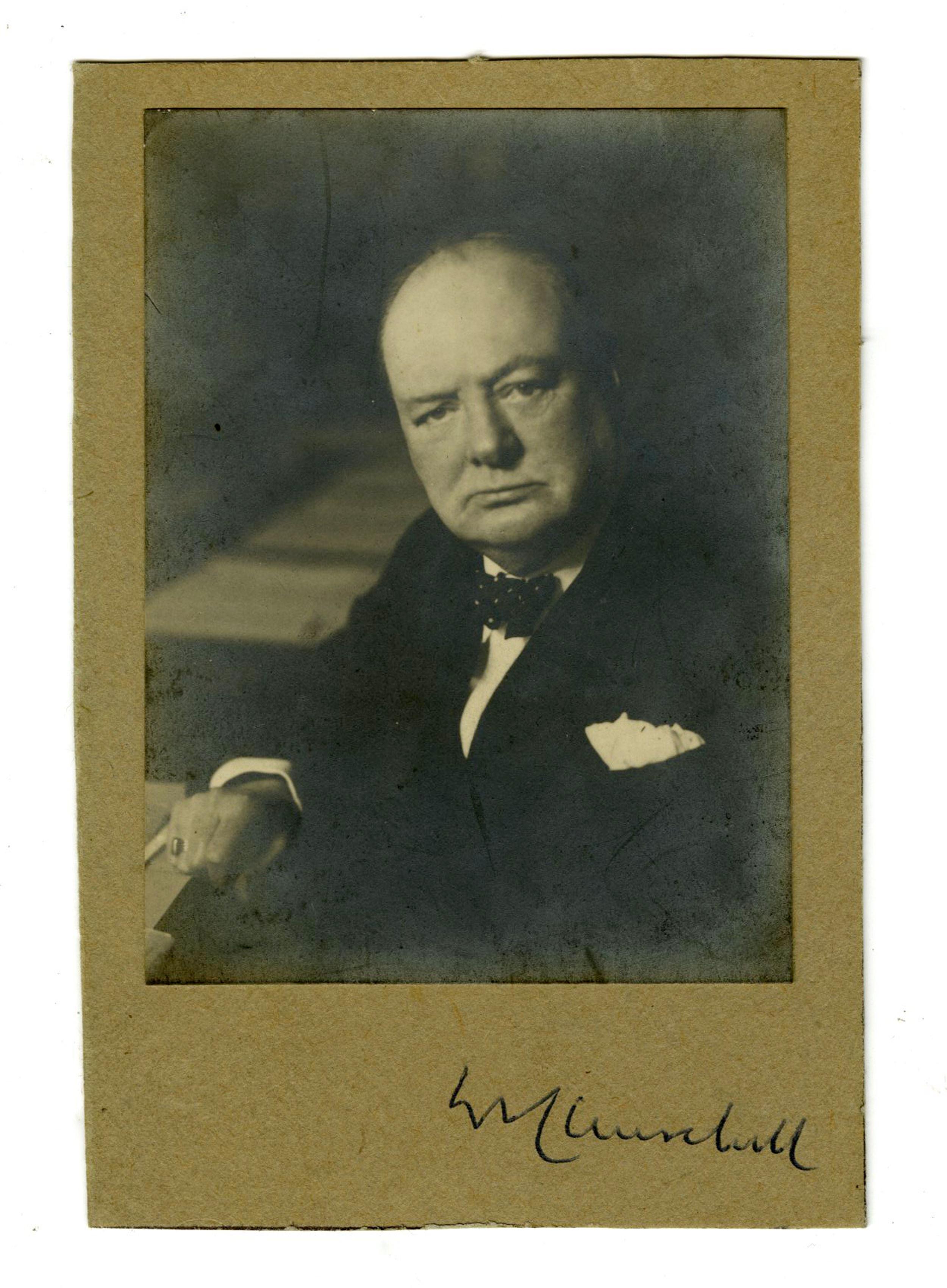 Stoic Winston Churchill Signed Silver Gelatin Print Portrait
