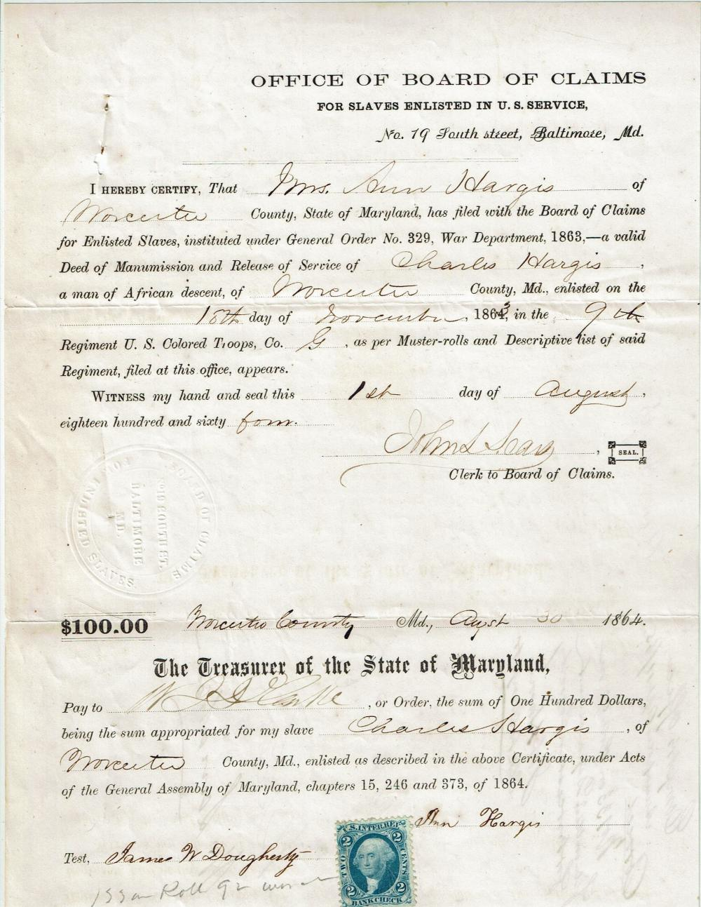 Slave Owner Receives Pay for his Slave Enlisted in the Union Army