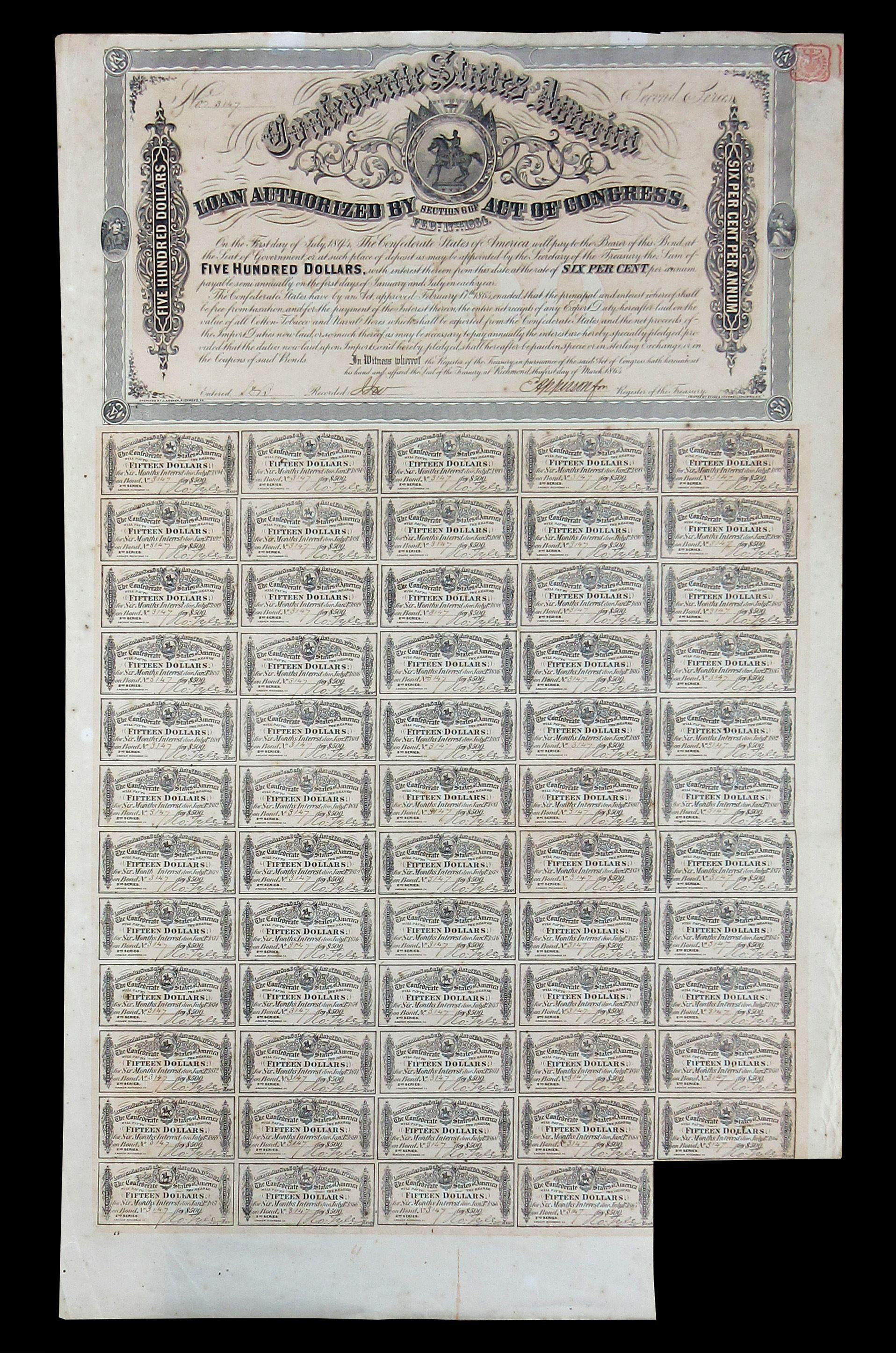 Confederate States of America 30-Year Loan Bond Issued in 1864