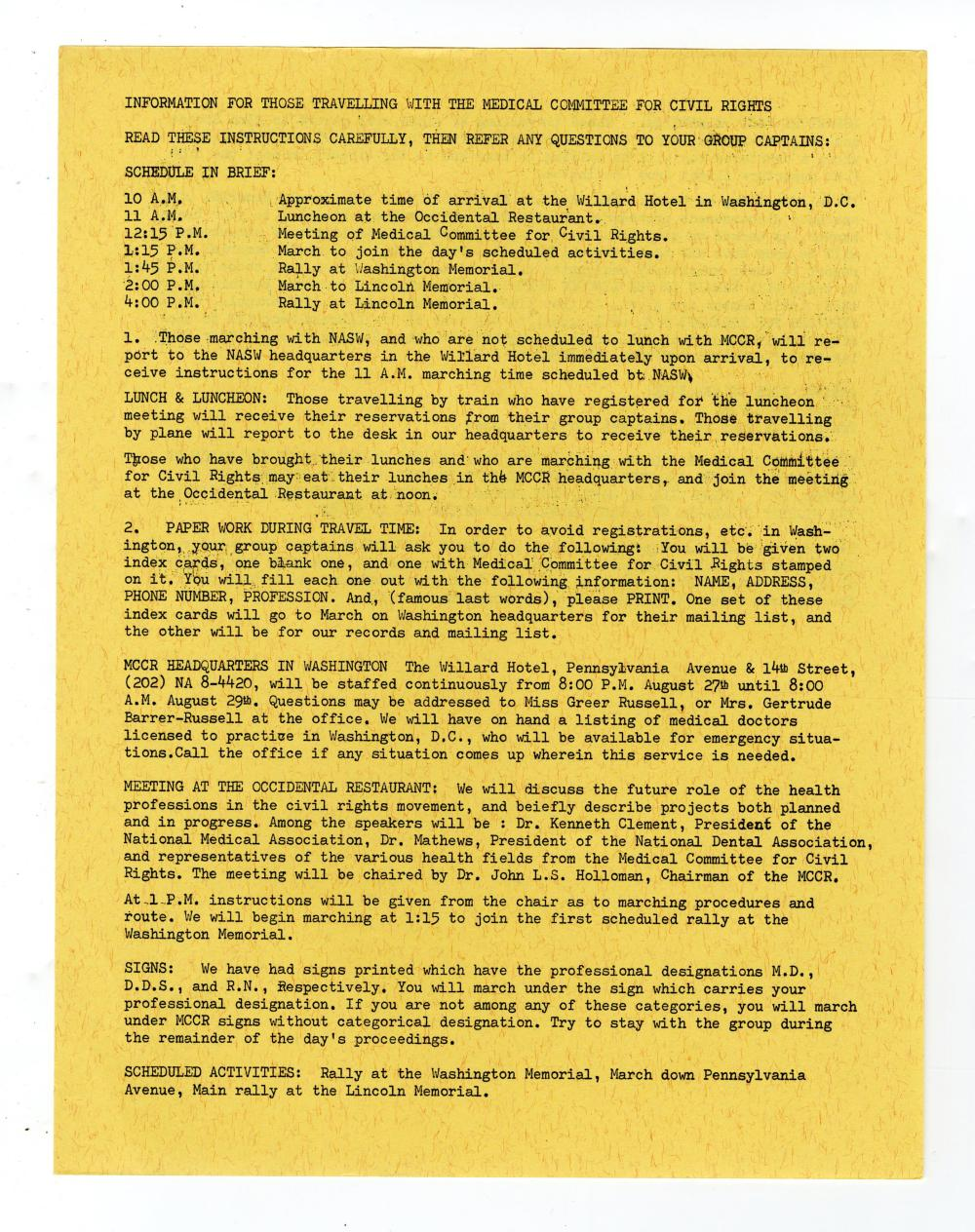 """March on Washington """"Medical Committee for Civil Rights"""" Information Sheets 7pp"""