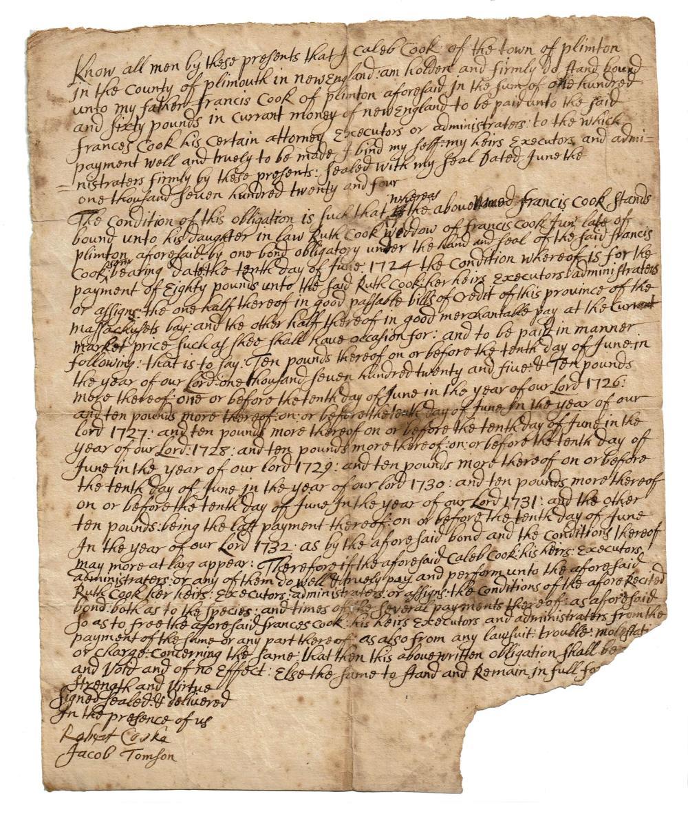 1724 Caleb Cook - King Philip's War Fascinating Manuscript!