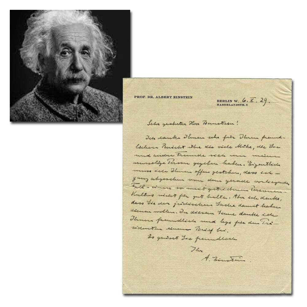 "Einstein on his ""Cult of Personality"" Used to Further Jewish Causes"