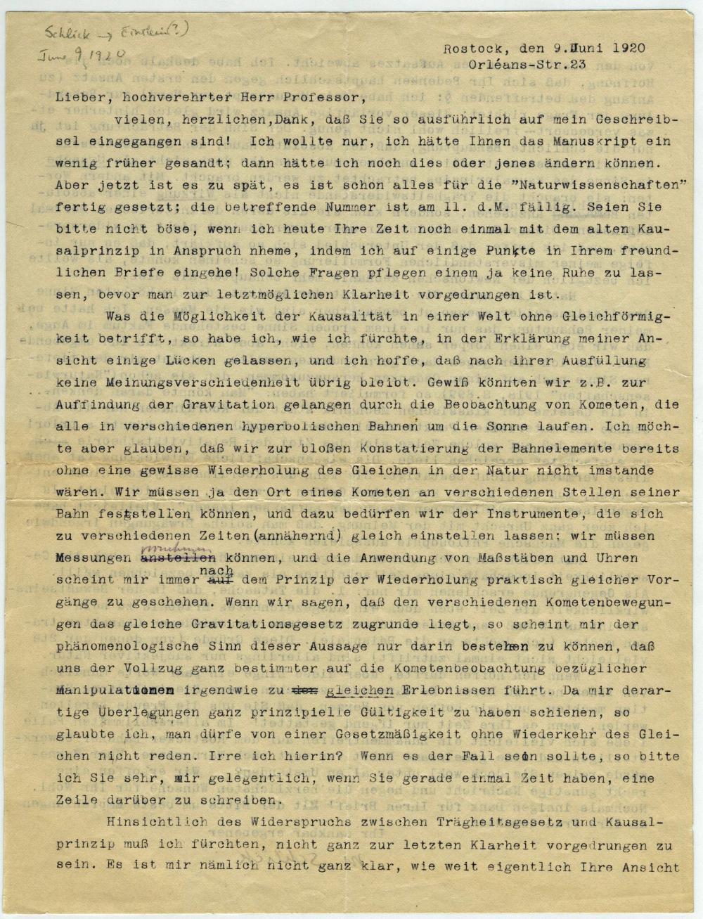 Schlick to Einstein on General Relativity and Much More!