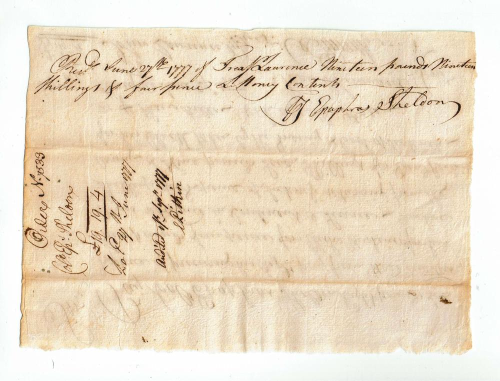 O. Ellsworth Pay Order for Arms Retained in the Continental Service