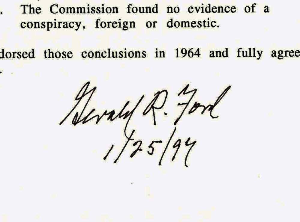 """Gerald Ford Signed Affirmation of Conclusions of the Warren Report, """"as the sole surviving Commission member"""""""