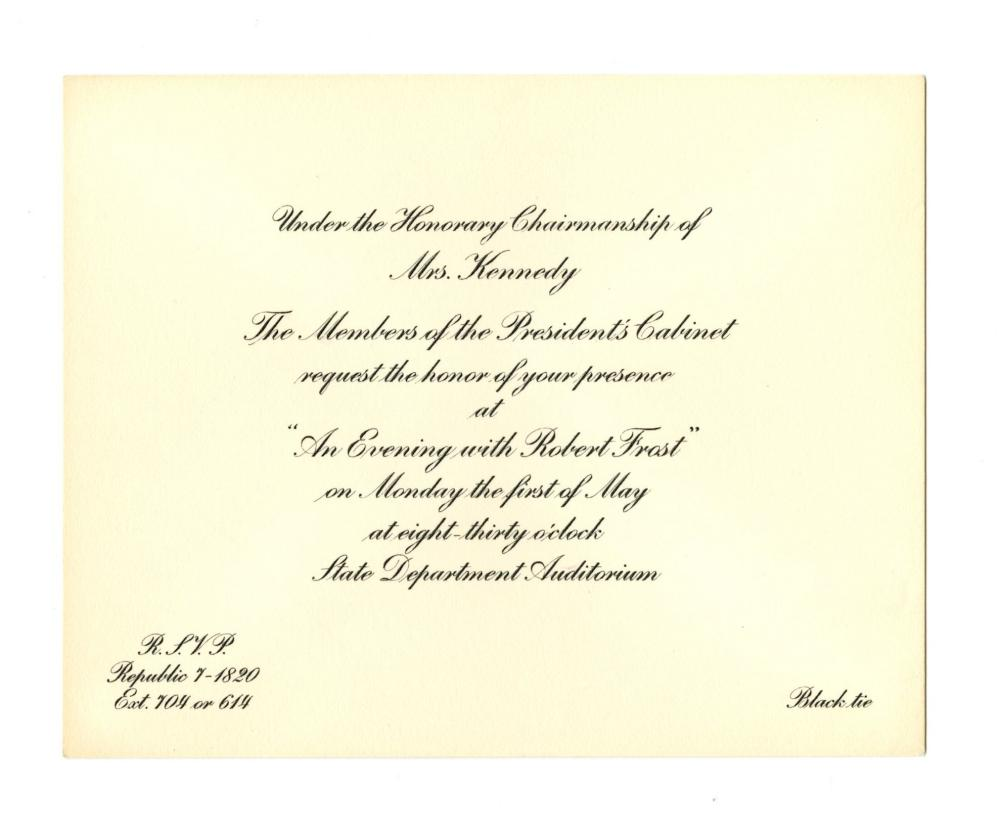 """Jackie Kennedy & Cabinet Invitation to """"An Evening with Robert Frost"""""""