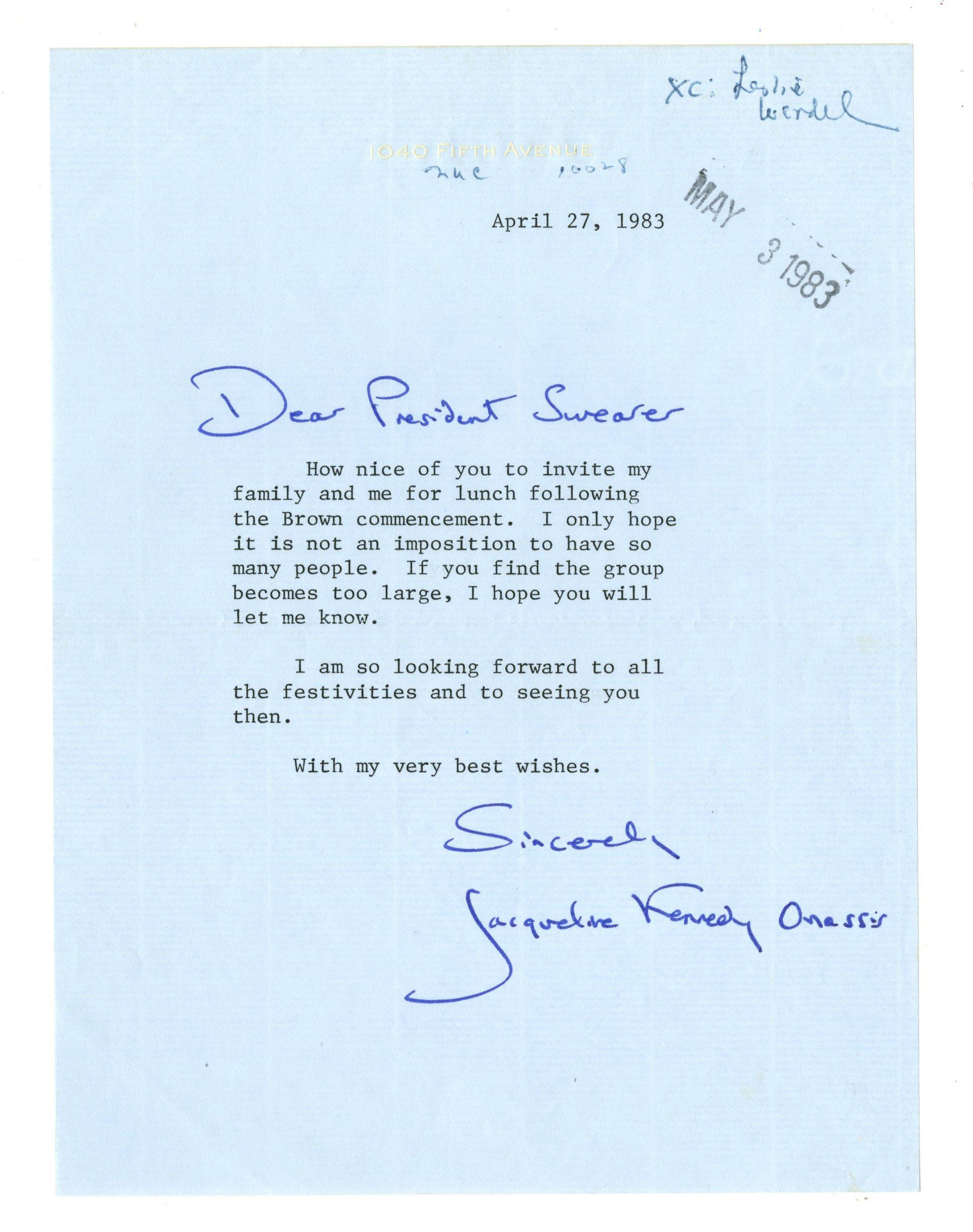 Jackie Kennedy TLS Re: Brown University Graduation Lunch. Full Bold Signature!