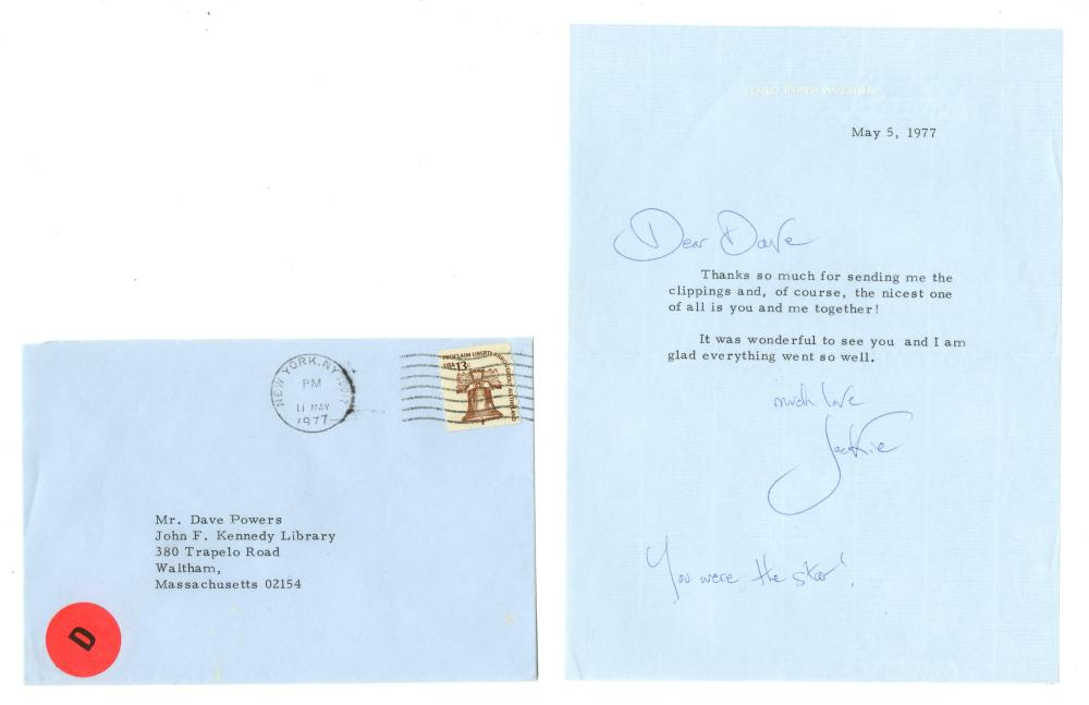 Jacqueline Kennedy Typed Letter Signed to Old Family Friend, Dave Powers