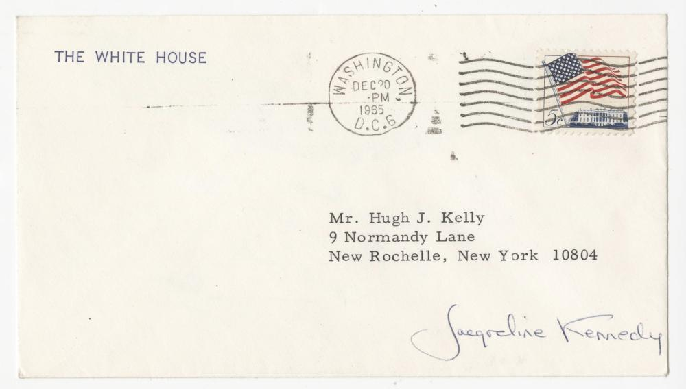 Rare Jacqueline Kennedy Signed Envelope on White House Stationary