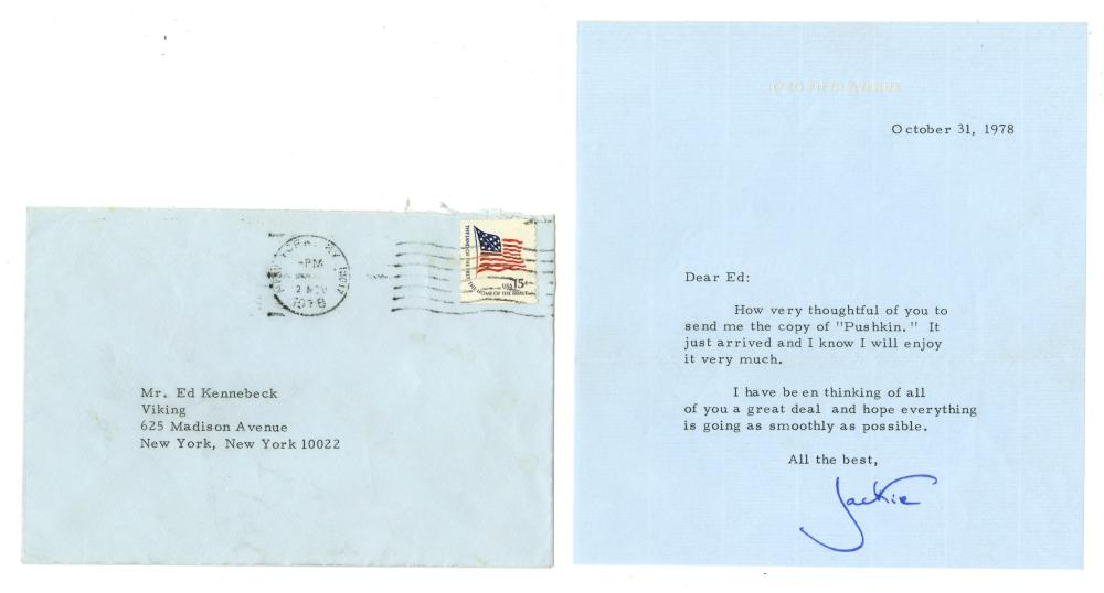 Jacqueline Kennedy Thank You Letter To Old Viking Press Colleague