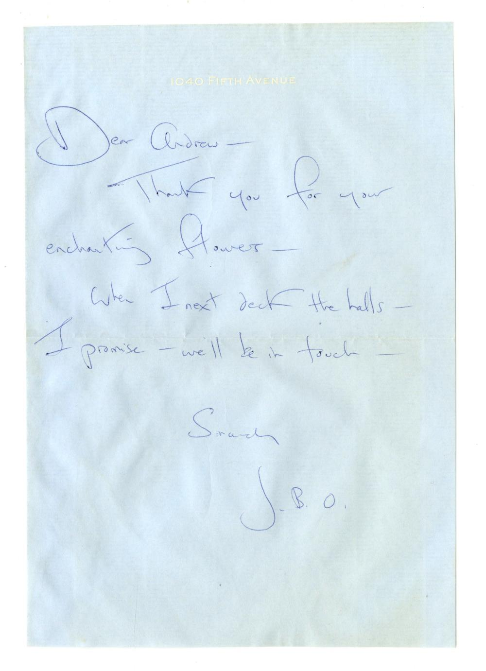 """Jackie Kennedy ALS """"JBO"""": """"Thank you for your enchanting flowers..."""""""