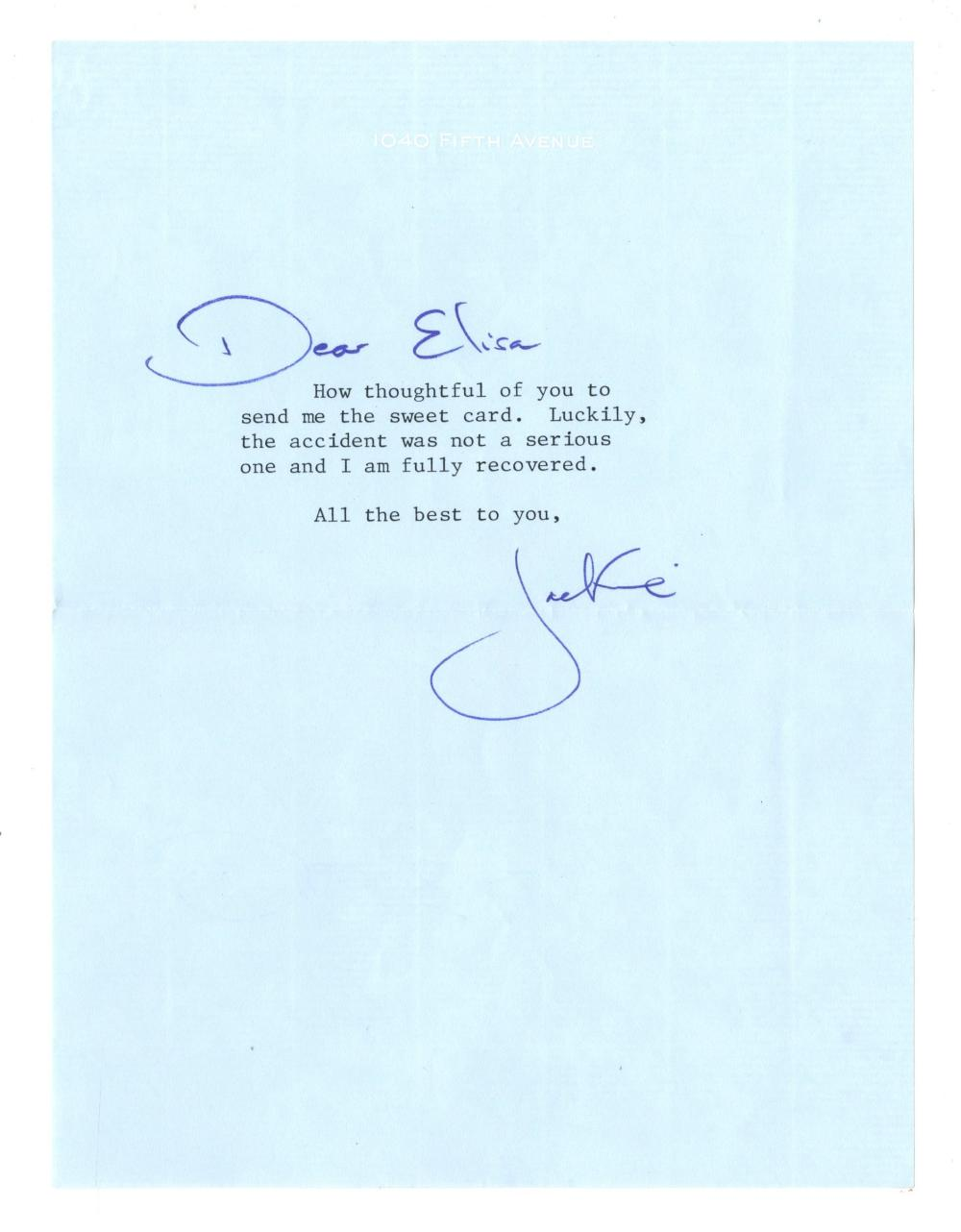 """Jackie Kennedy TLS a Year Prior to Her Death: """"The accident was not a serious one..."""""""