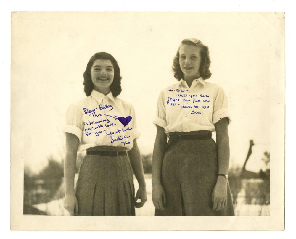 Remarkable Jacqueline Kennedy Age 16 Signed Photograph with Her Roommate