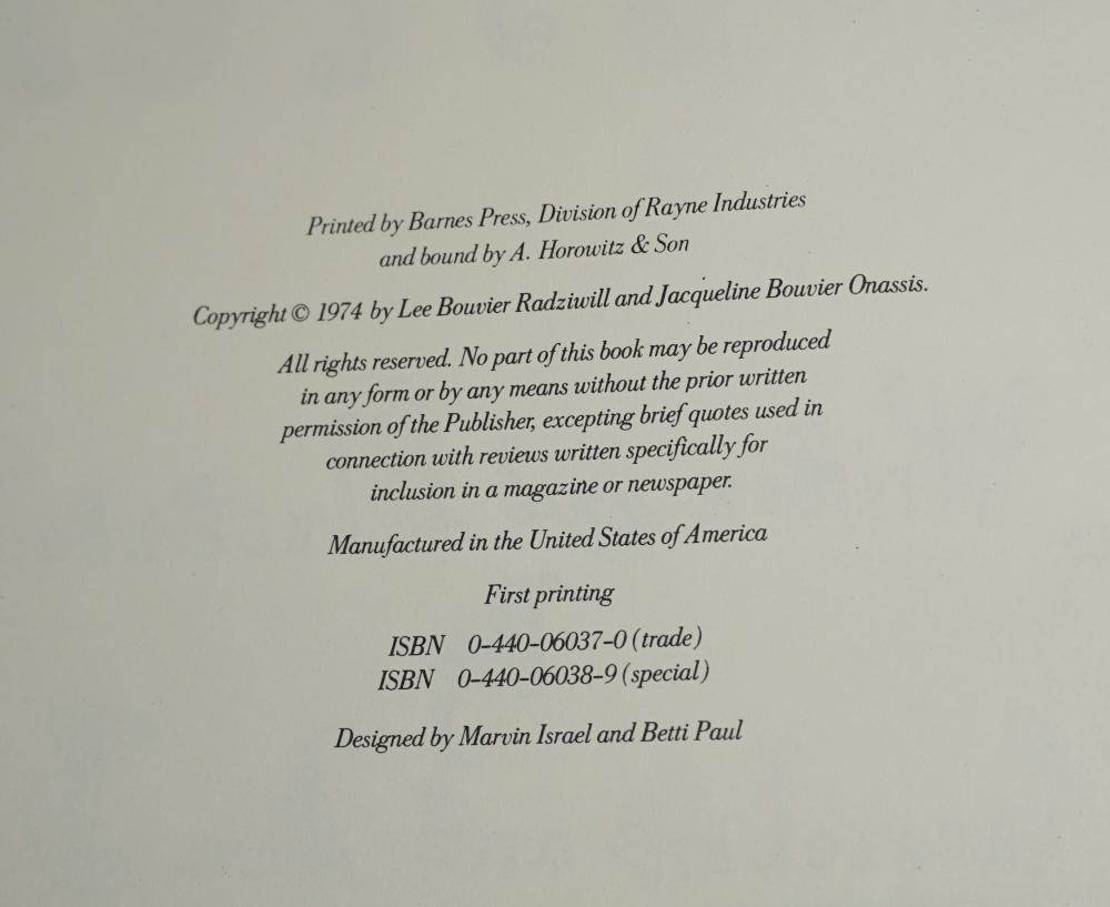 """Jacqueline Kennedy and Lee Radziwill Signed Book as the Bouvier Sisters, """"One Special Summer"""""""