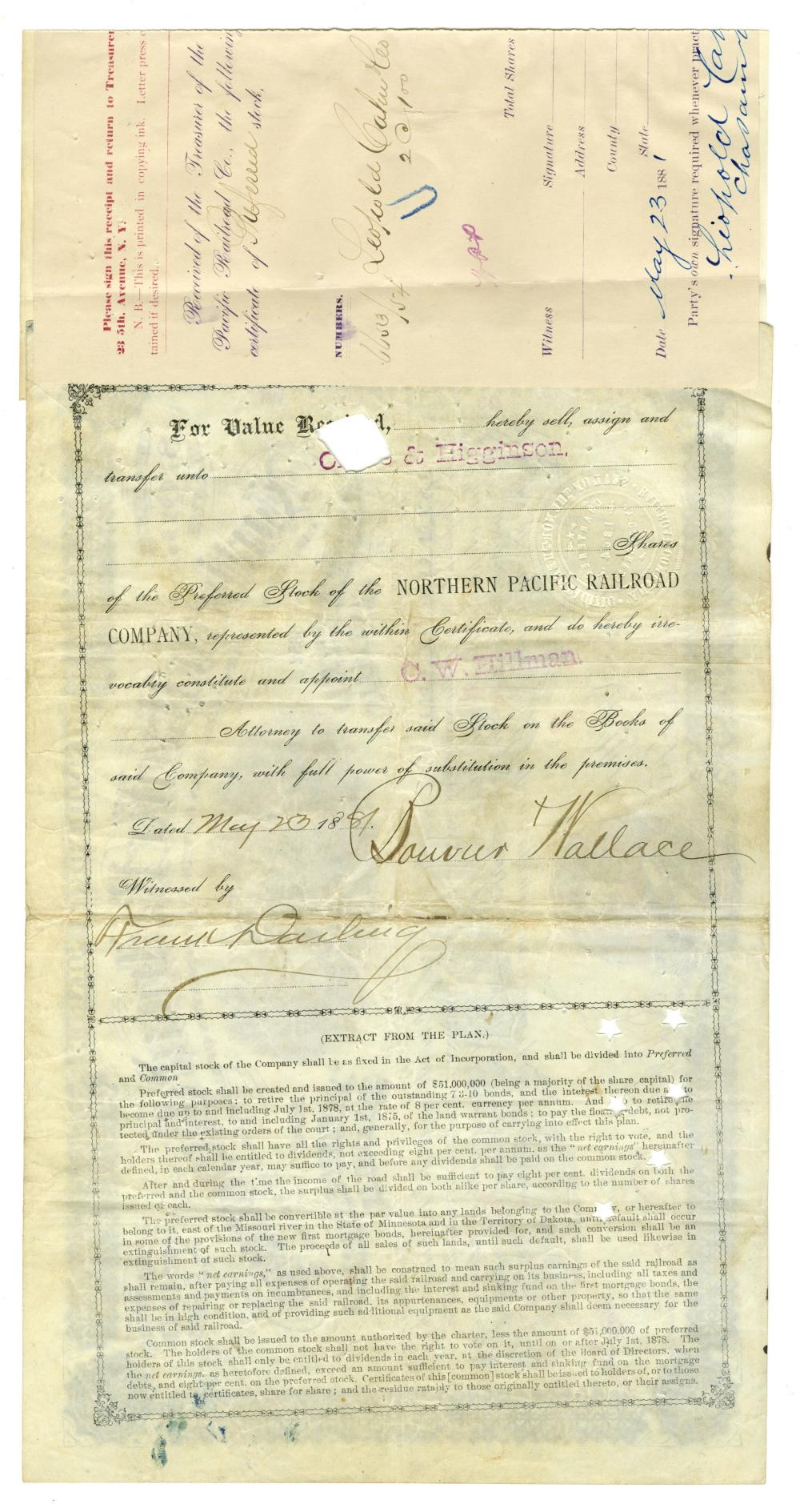 Jackie Kennedy Family 4 Bouvier Northern Pacific Railroad Co. Stock Certificates