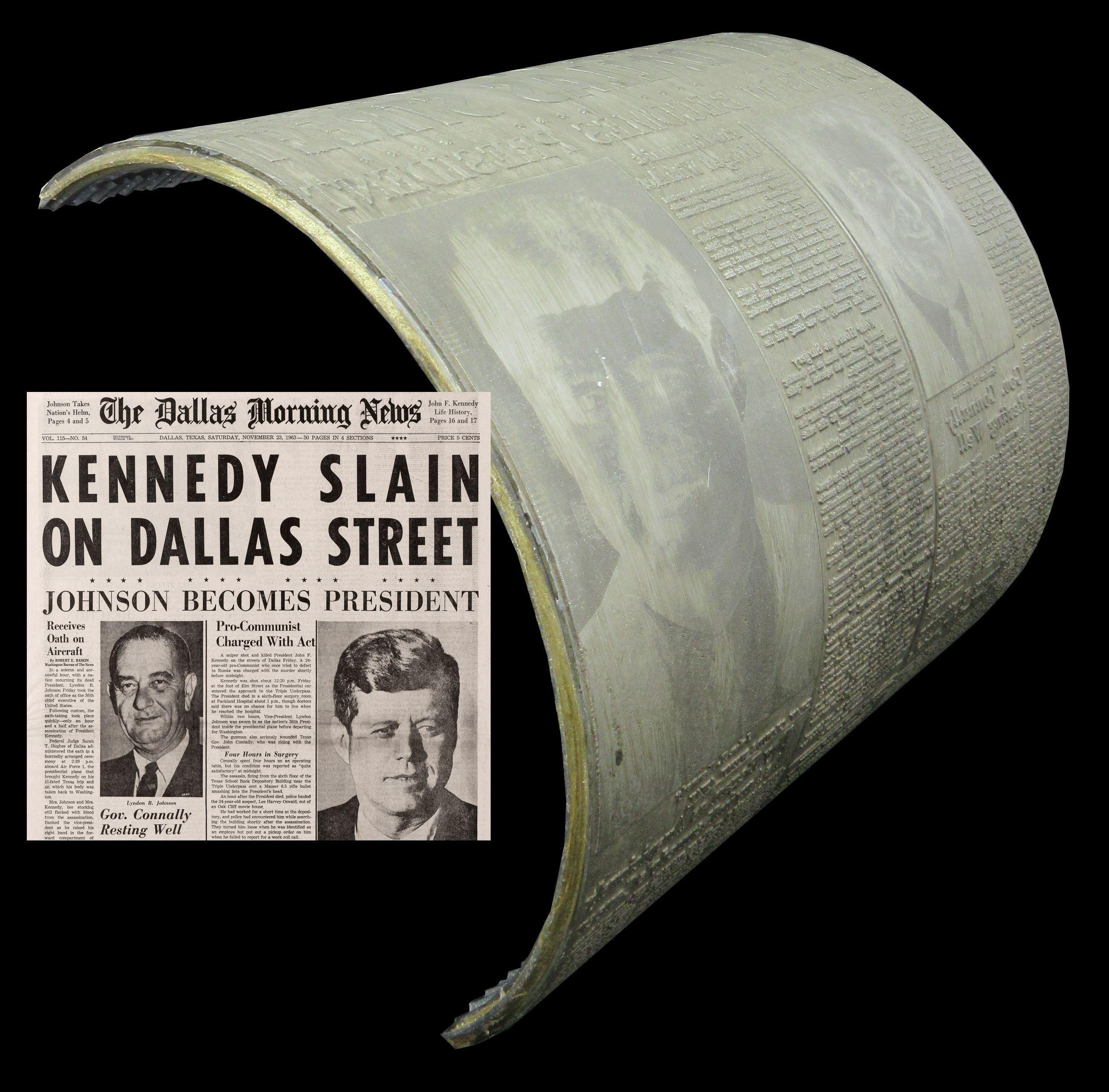 """Dallas Morning News"" November 23, 1963 Front Page Newspaper Printing Plate!"