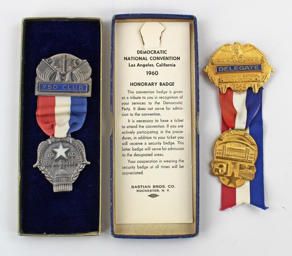 [John F. Kennedy] Pristine 1960 750 Club and 1964 Delegate DNC Badges