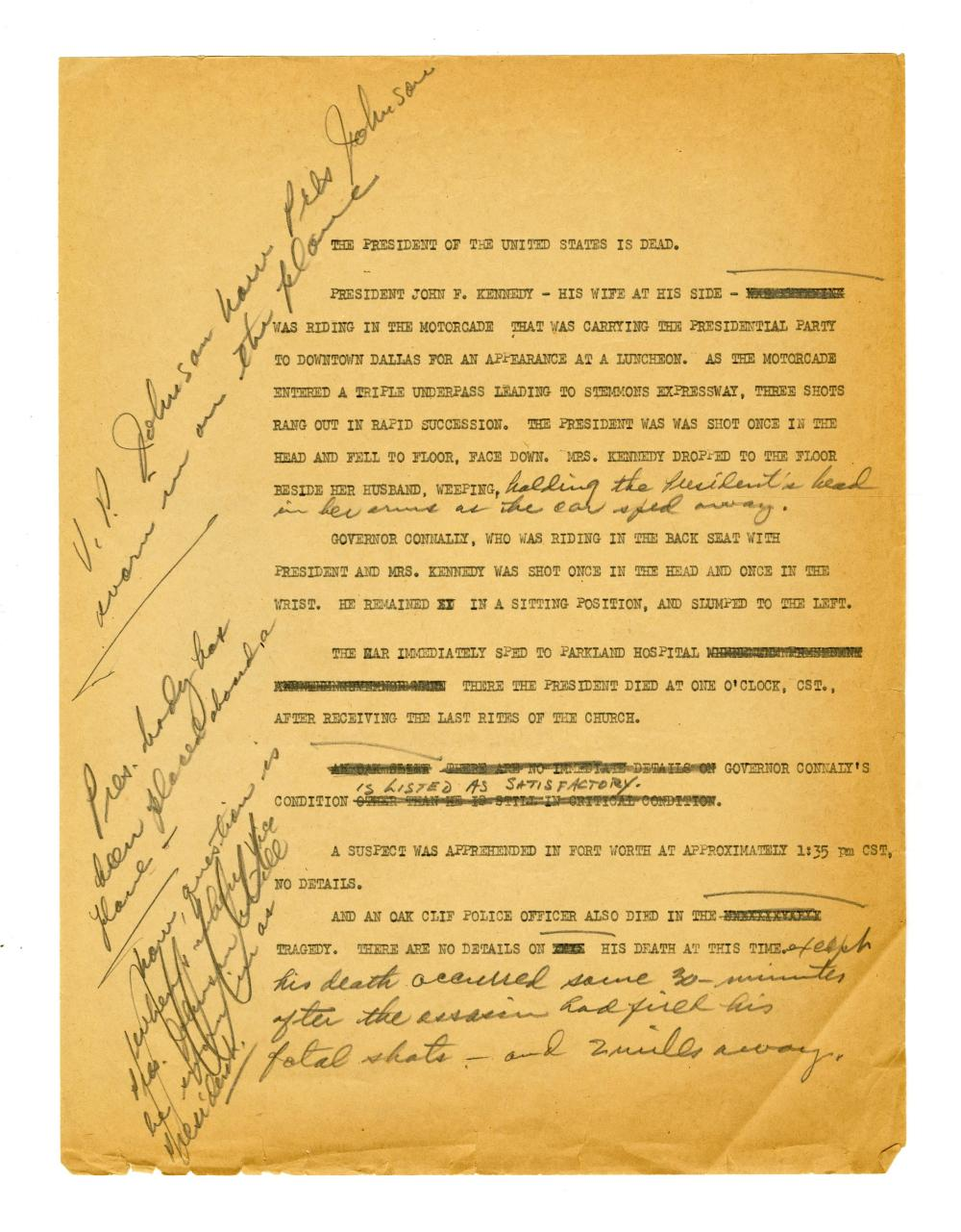 Draft of a News Report Following the Assassination of John F. Kennedy, Fantastic!