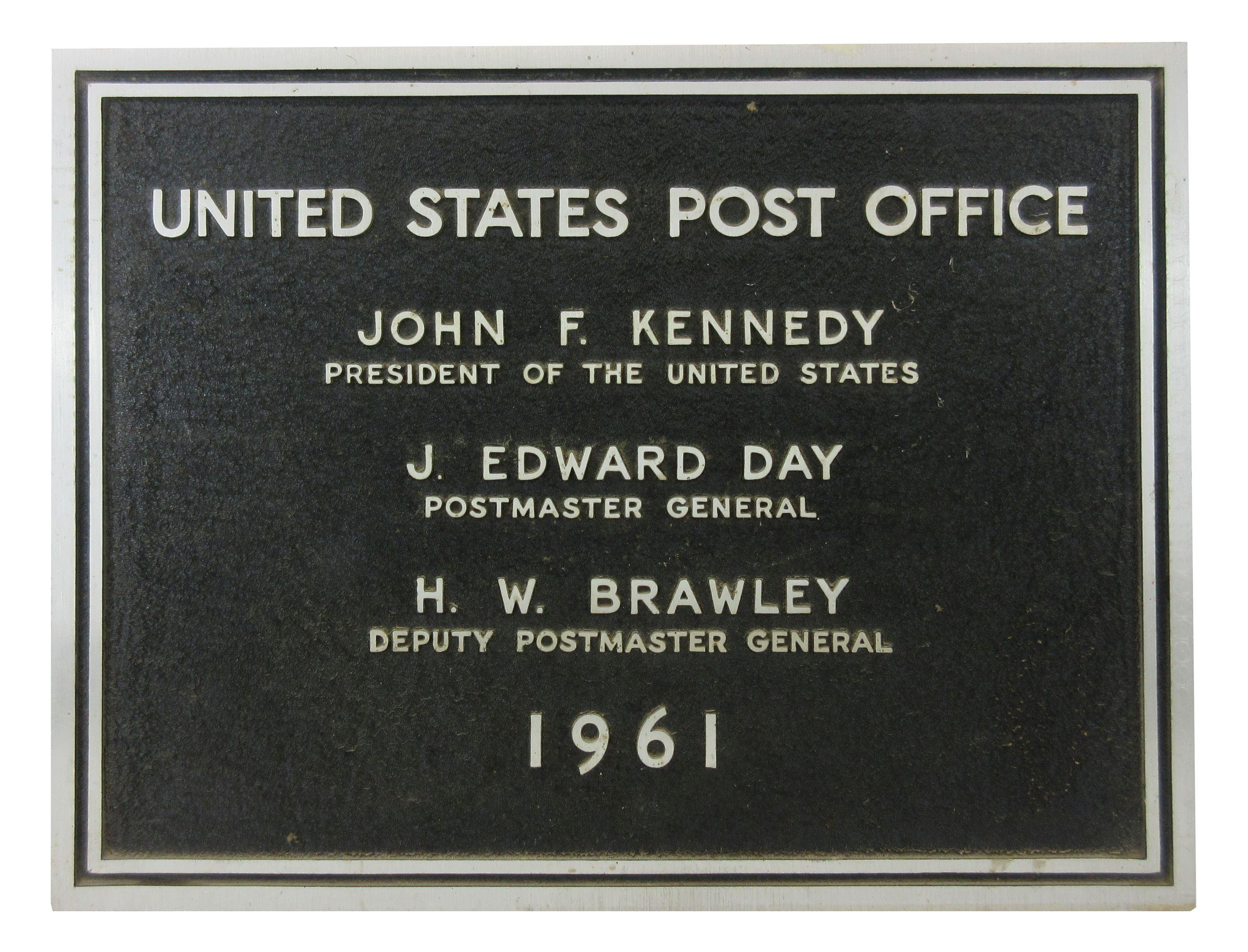 John F. Kennedy Official Vintage Post Office Plaque 1961