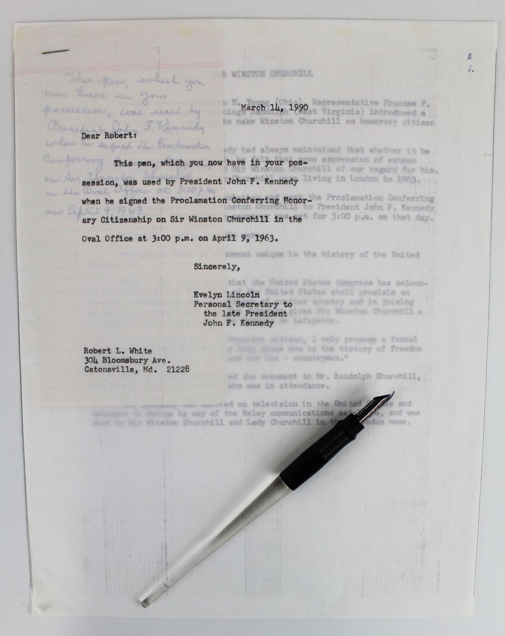 John F. Kennedy: White House Pen Used to Sign the Declaration Endowing Churchill Honorary US Citizenship