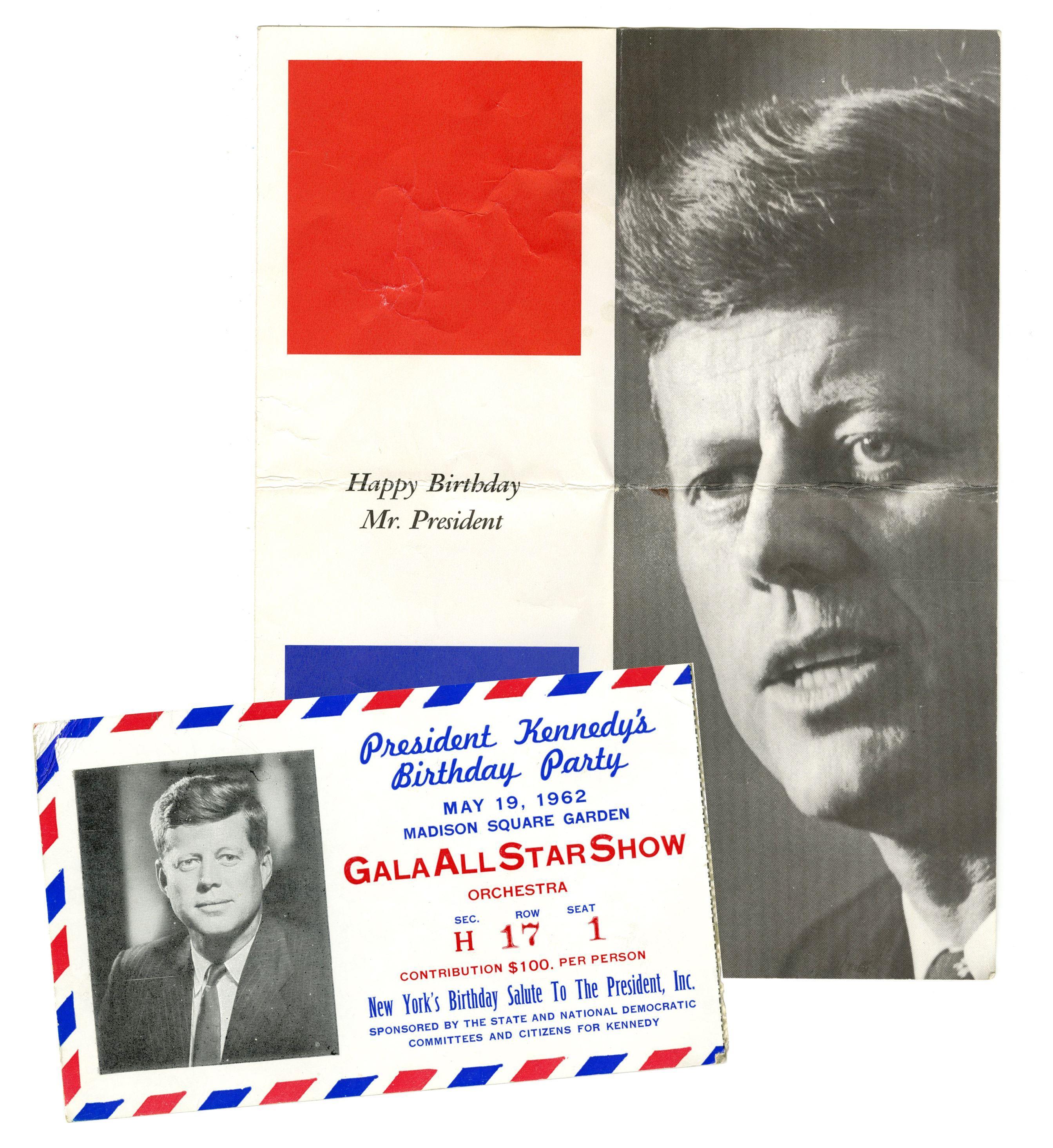 JFK and Marilyn Monroe Rare Birthday Celebration Ticket and Program
