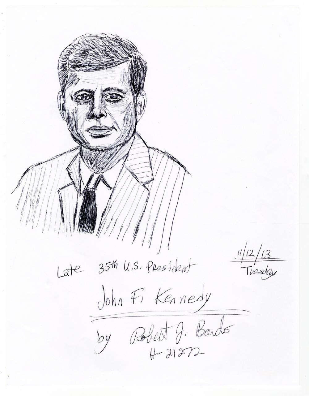[JFK] Five Eerie Sketches of JFK, RFK, & Oswald Signed by Convict Bardo