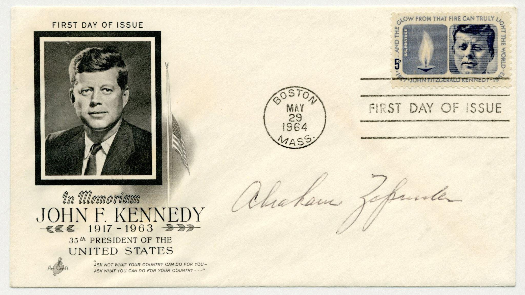 Abraham Zapruder, Filmed JFK Assassination, Signed First Day Cover from JFK's 47th Birthday in 1964