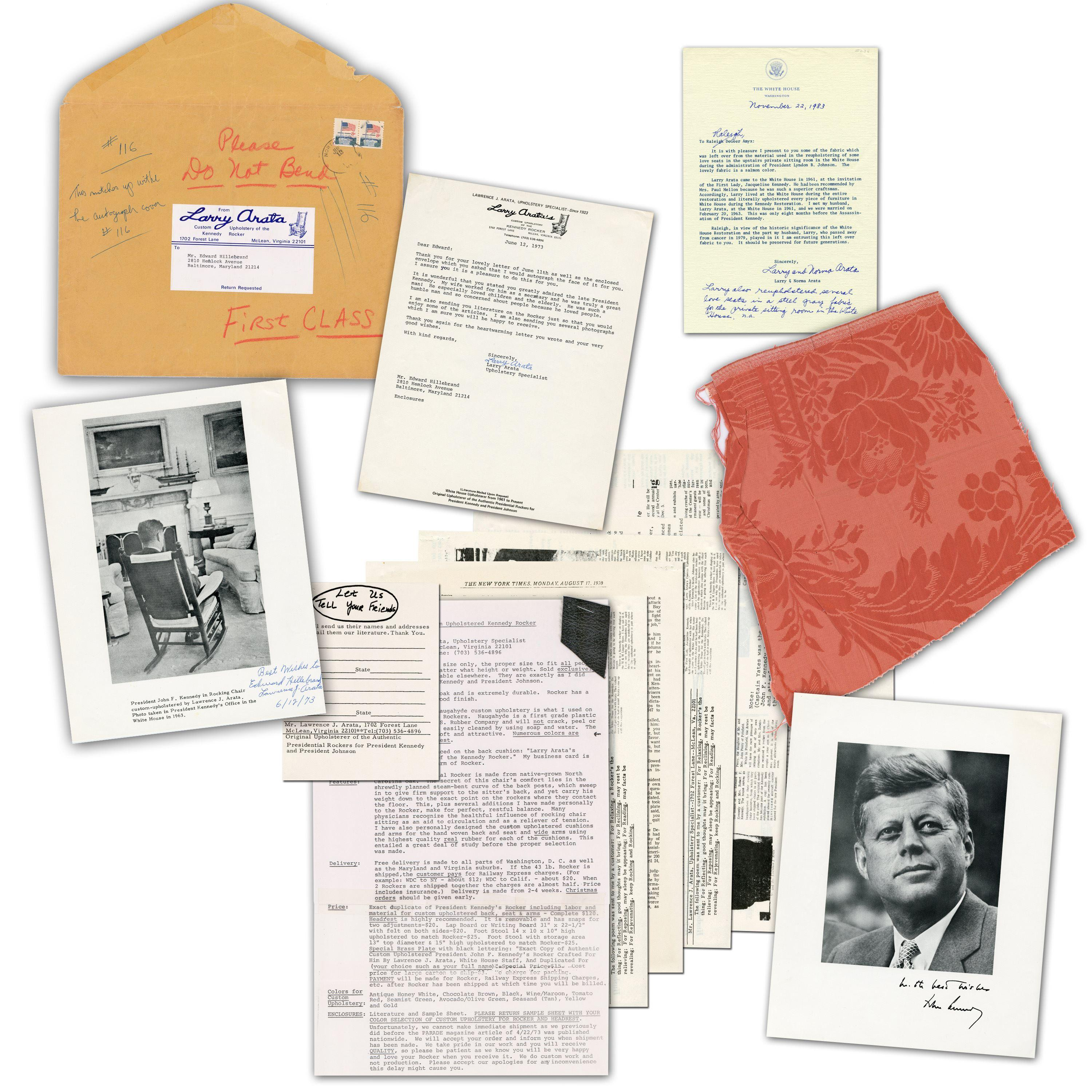 JFK & LBJ Related Fabric Incl. Rocking Chair Swatch & WH Sofa Upholstery Sample, with Exceptional Provenance!