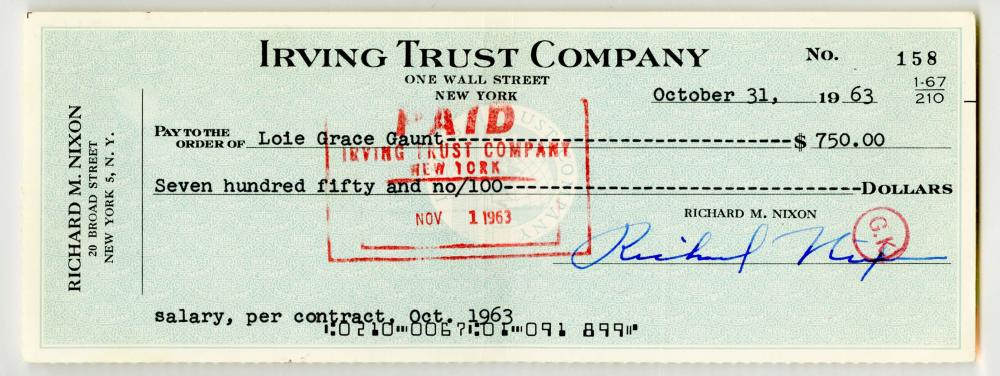 Richard Nixon Signs a Halloween Pay Check to His Faithful Staffer, PSA Slabbed and Graded