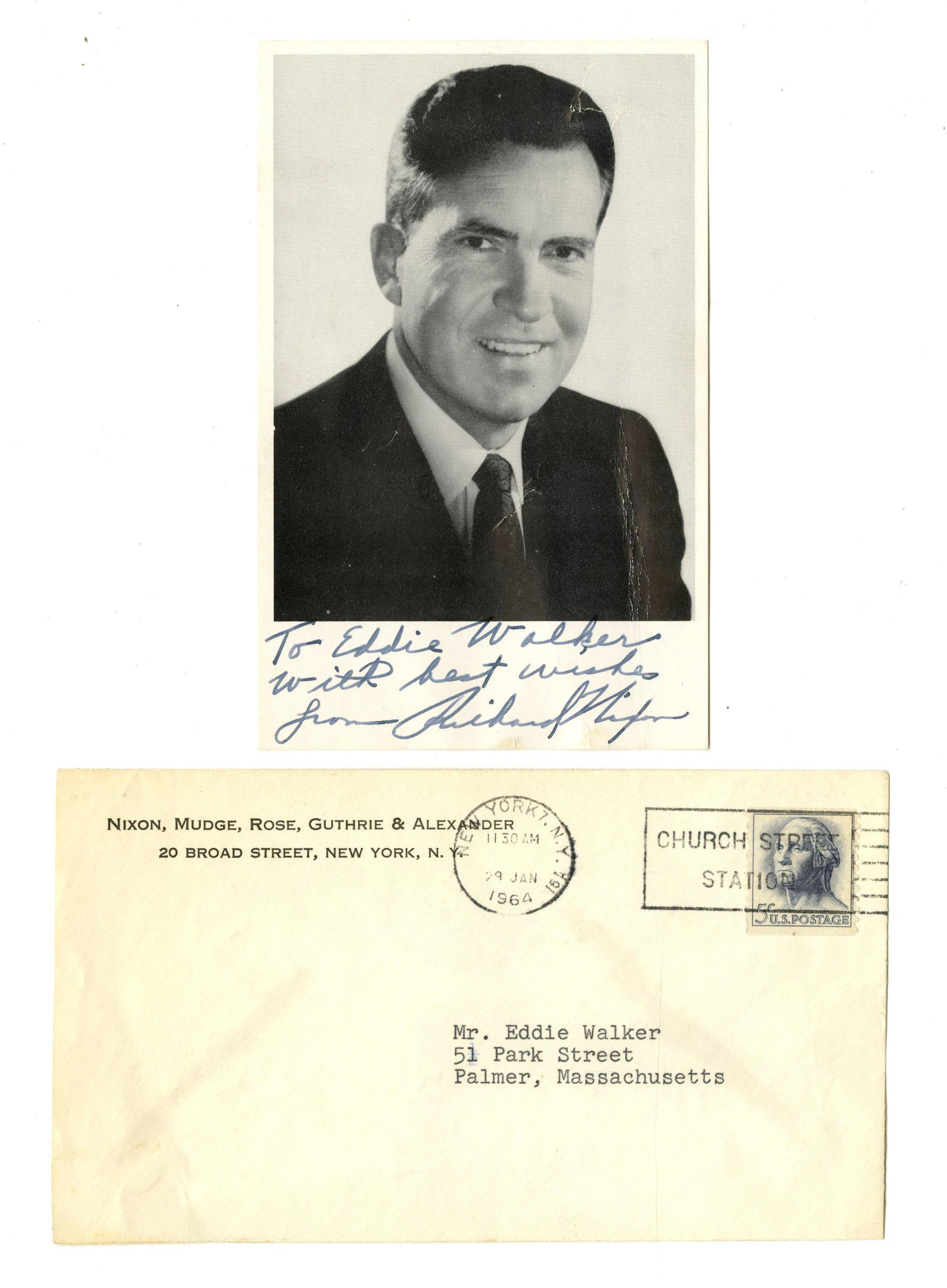 A Young Richard Nixon Inscribes and Signs a Photograph