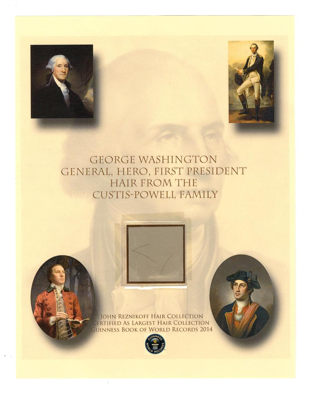 First U.S. President George Washington Several Strands of Hair