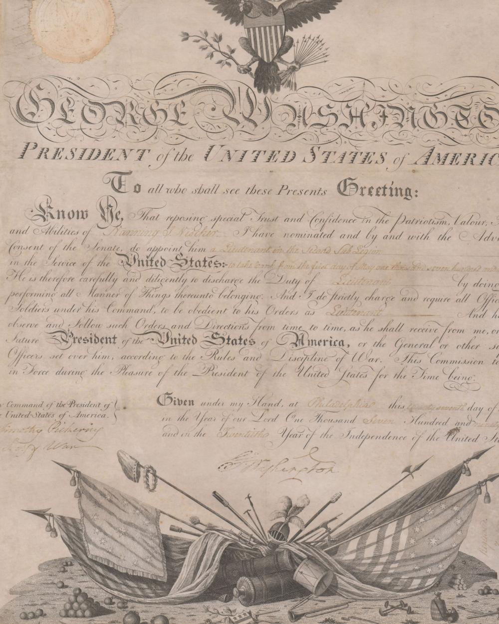 G. Washington Rare Commission For an Indian Fighter alongside W. H. Harrison, and Lewis and Clark in Legion of the United States.