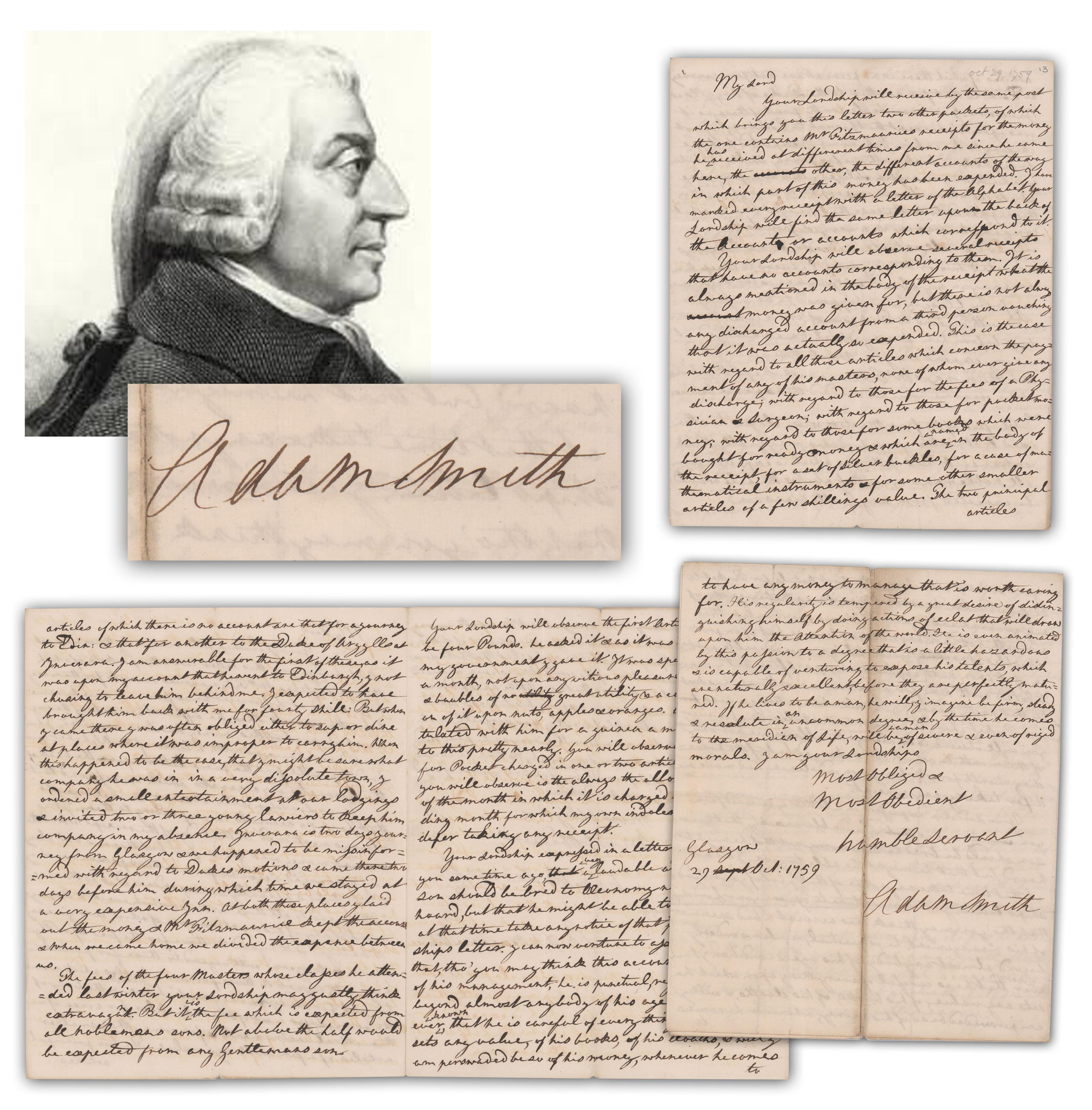 Adam Smith Rare 4 p. ALS On The Financial and Moral Responsibility of the Son of Royalty
