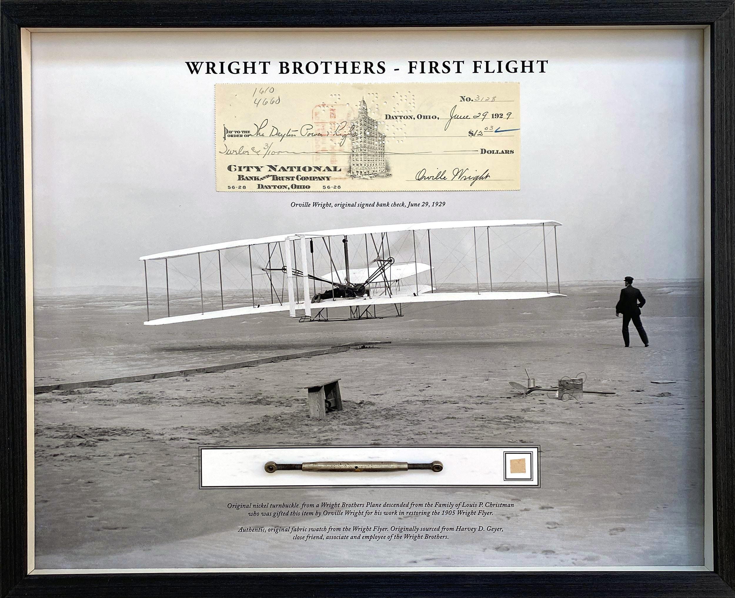 Incredible Wright Brothers Display Incorporating Bold Orville Autograph & Original Kitty Hawk & Other Relics