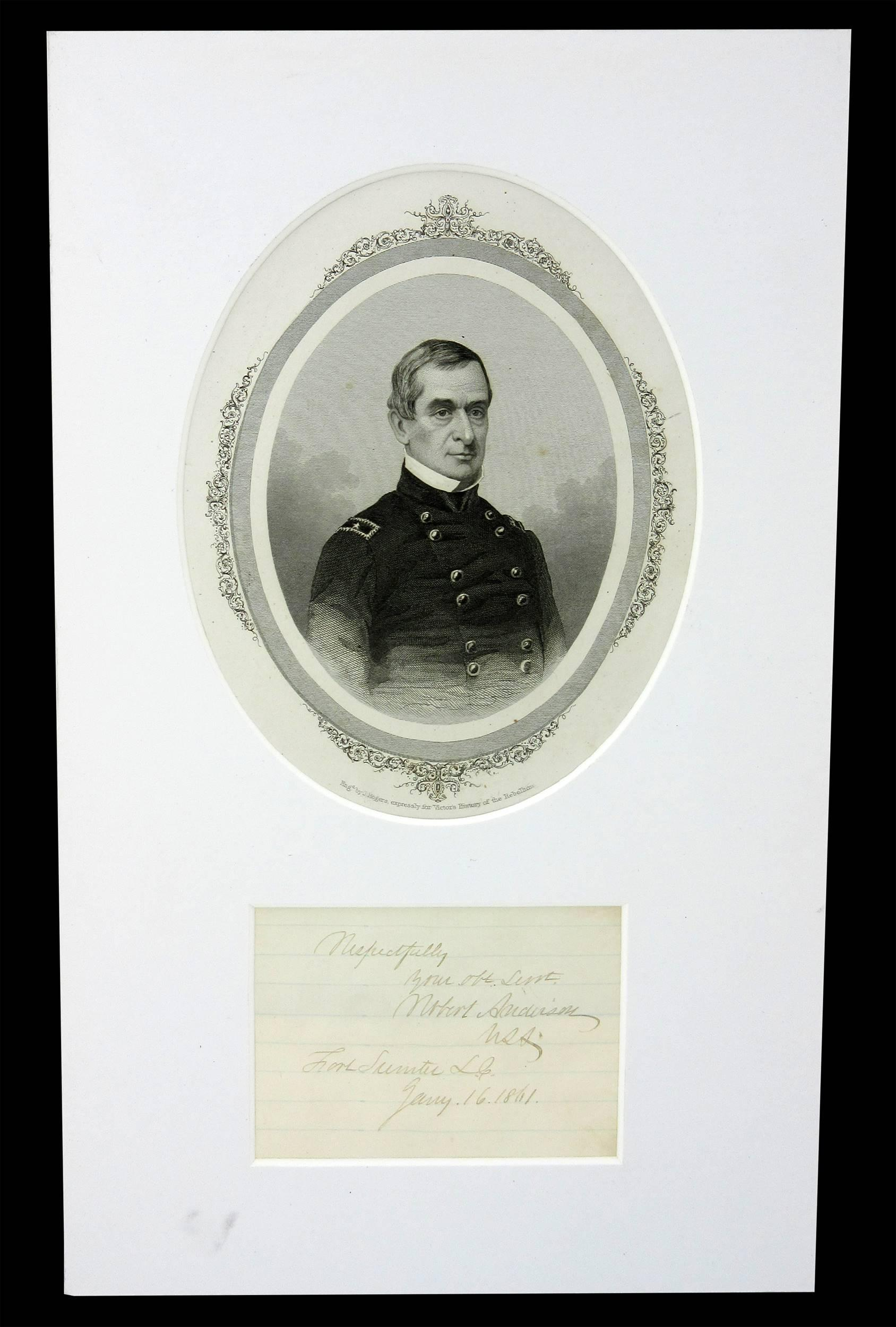 Robert Anderson Autograph from Ft. Sumter Three Months Before the Confederate Attack!