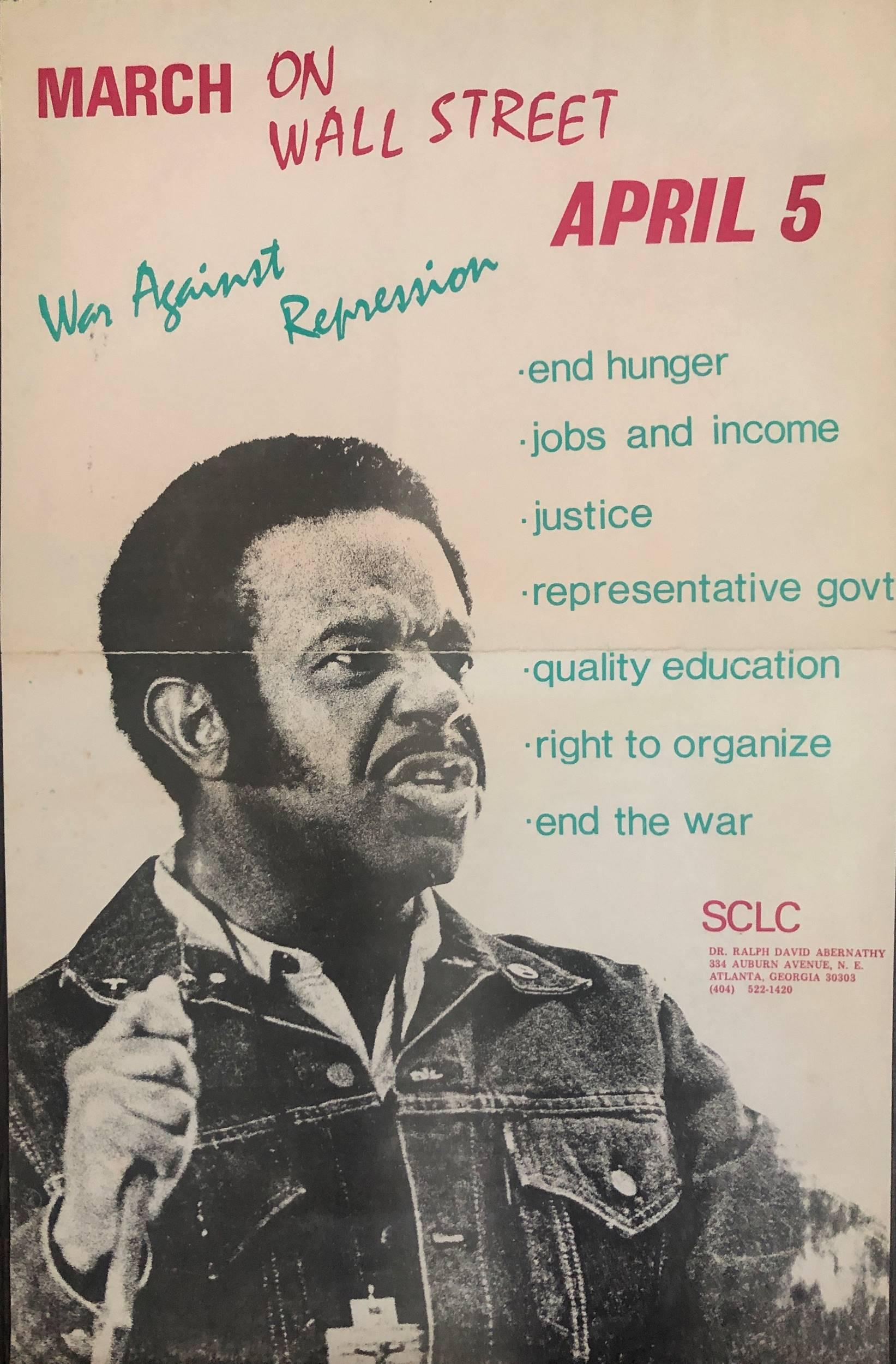 Dr. Abernathy Civil Rights March 1971 On Wall Street Poster Rare