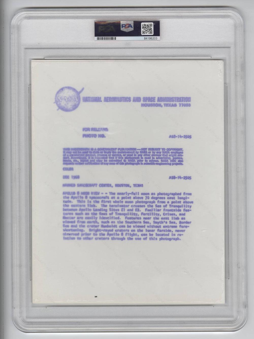 Official Red Number NASA Photo of the Apollo 8 Moon View, PSA Slabbed Authentic Type I