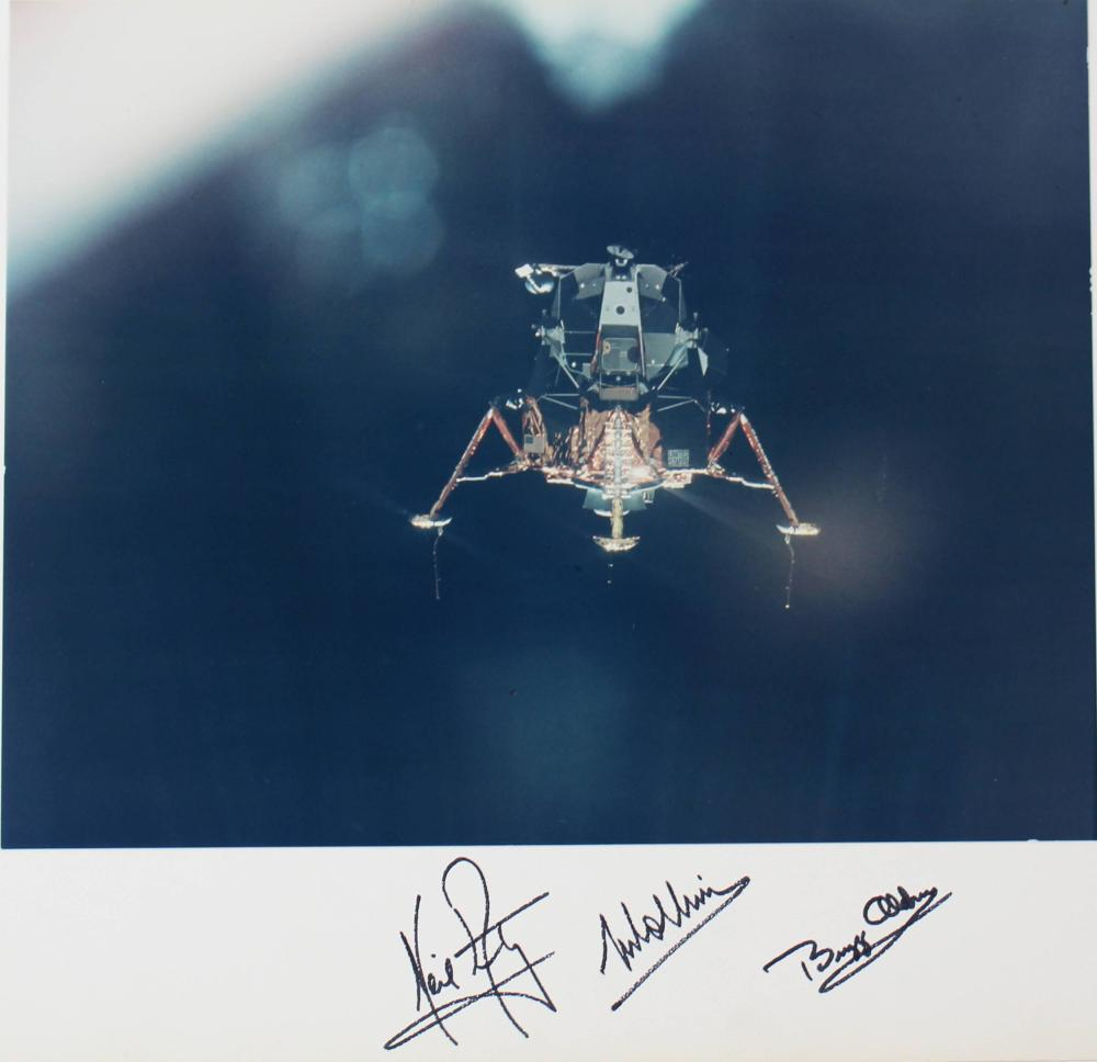 Apollo 11 Armstrong, Aldrin, and Collins Signed Eagle Descent Photo, Probably the Finest Known With Zarelli LOA