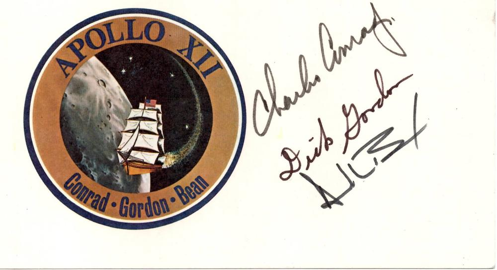 Apollo 12 Crew-Signed Mission Card, Conrad, Gordon, and Bean